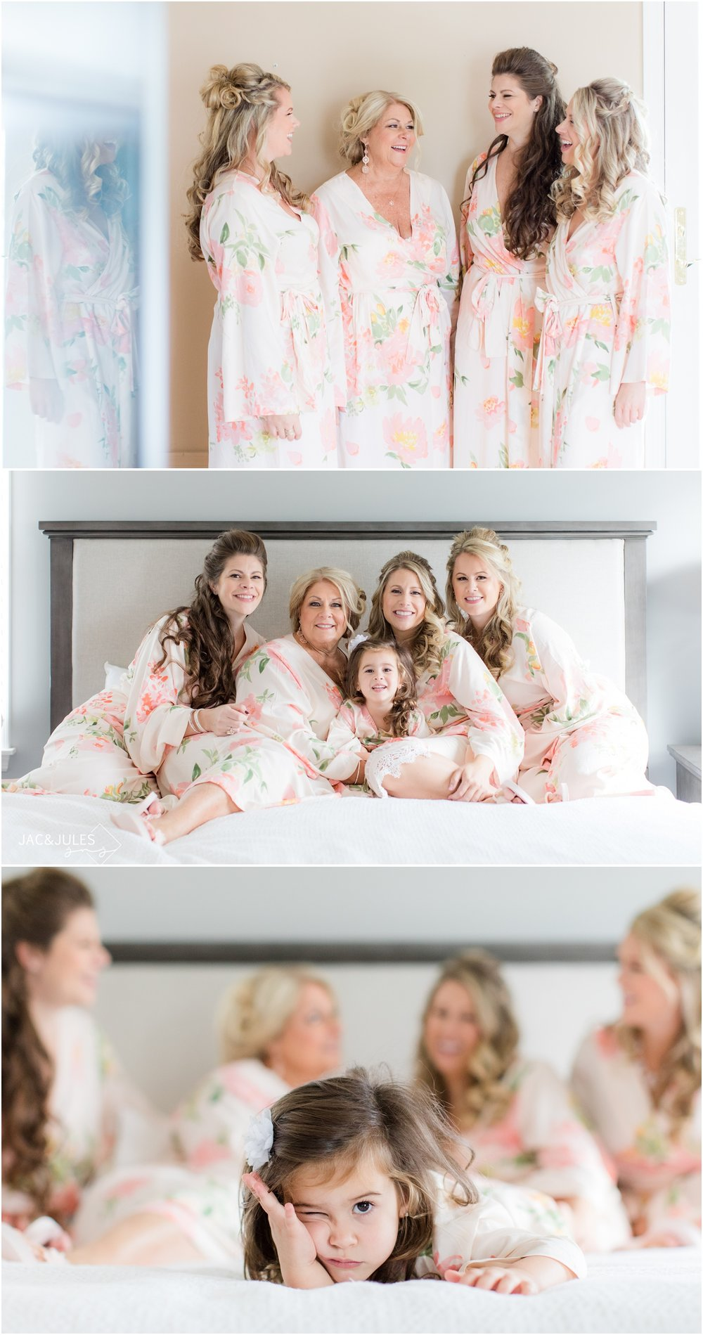 bride and her girls in matching robes at home in Spring Lake, NJ.