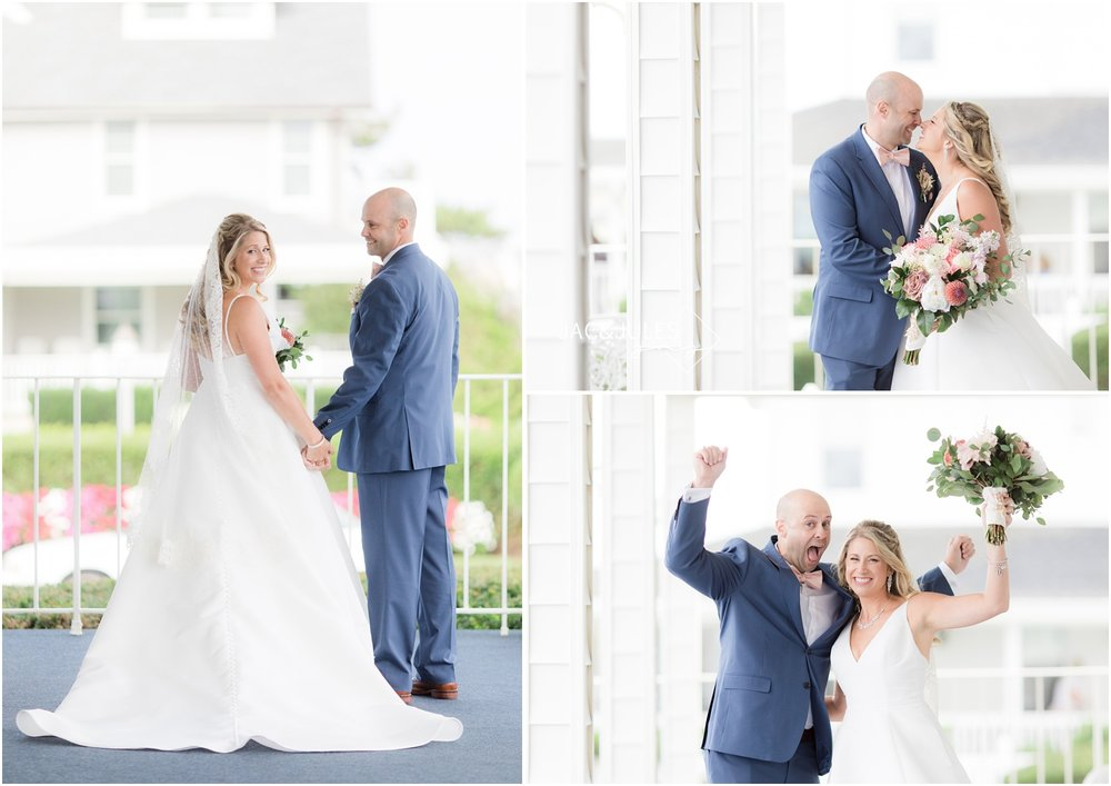 First look between bride and groom on the porch at The Breakers in Spring Lake, NJ.