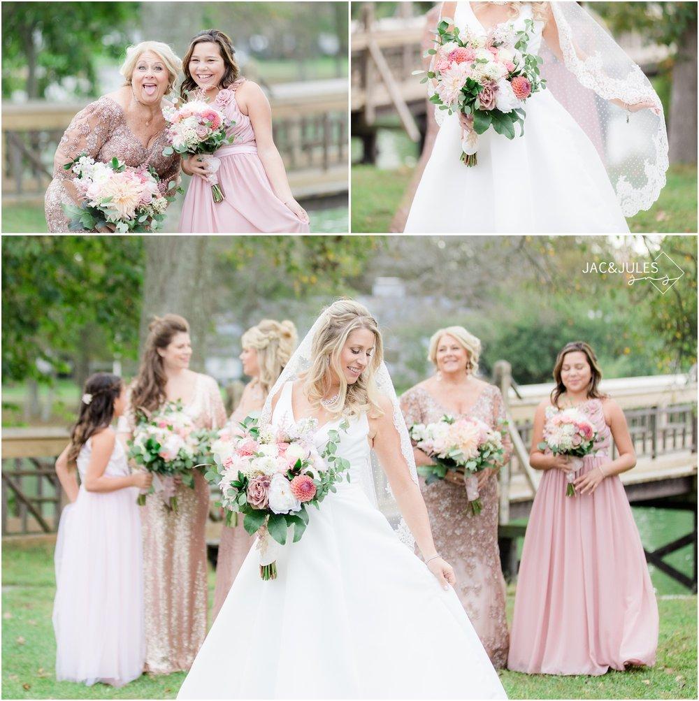 Bridesmaids photos by the bridge in Devine Park in Spring Lake, NJ.