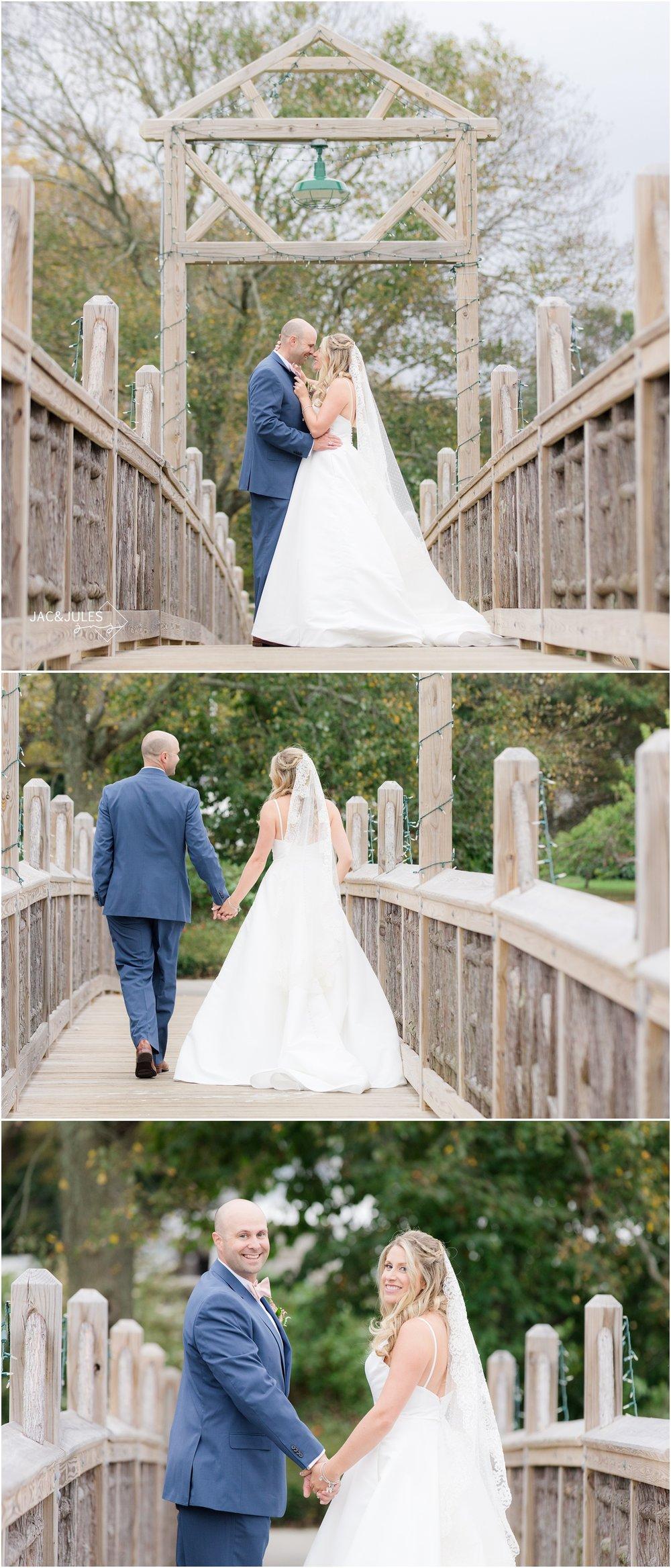 Bride and groom on the bridge in Devine Park in Spring Lake, NJ.