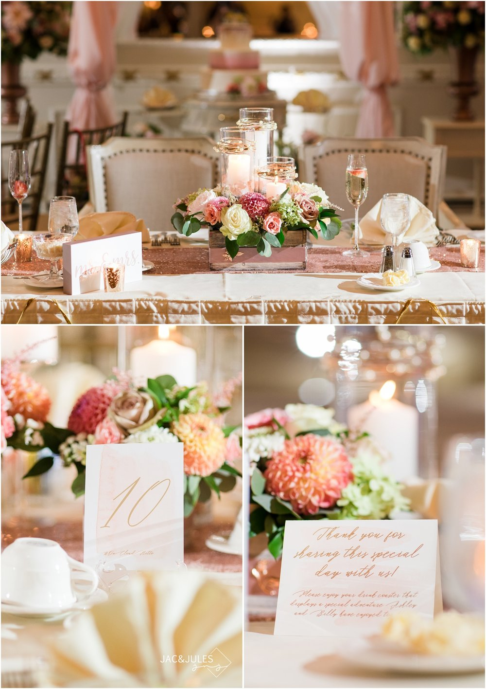Reception room decor and florals by wildflowers with tami at The Breakers in Spring Lake.