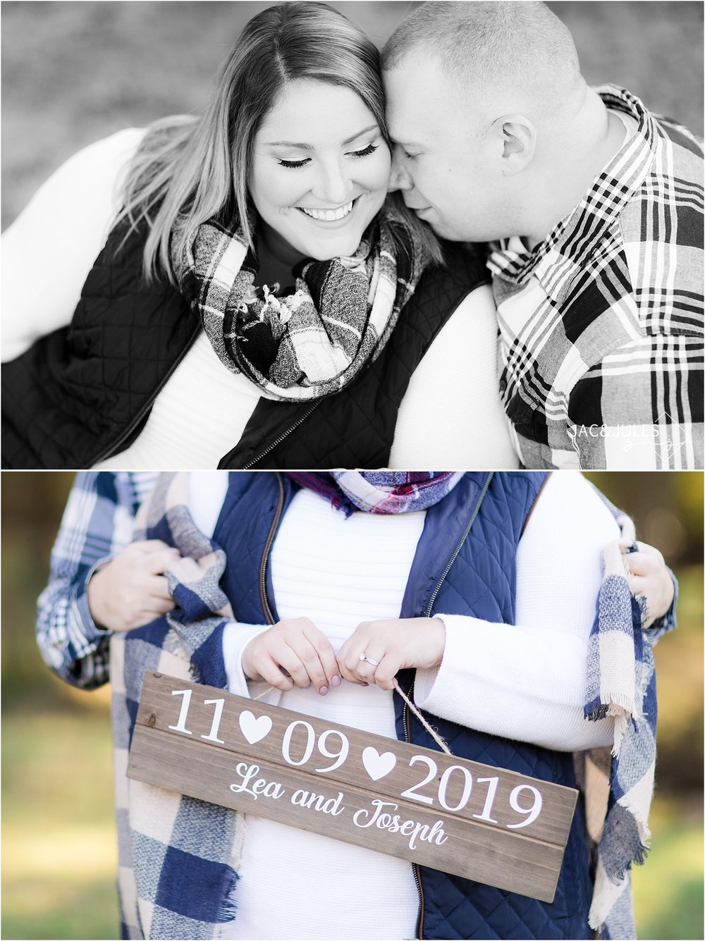 fall engagement photo at allaire state park using props