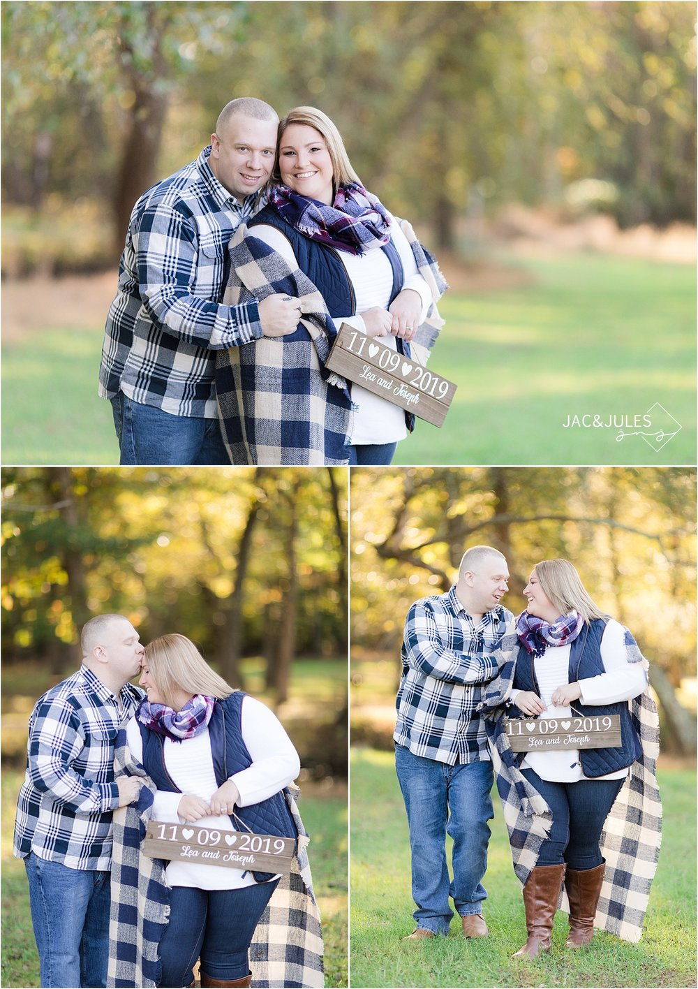 romantic fall engagement photo at allaire