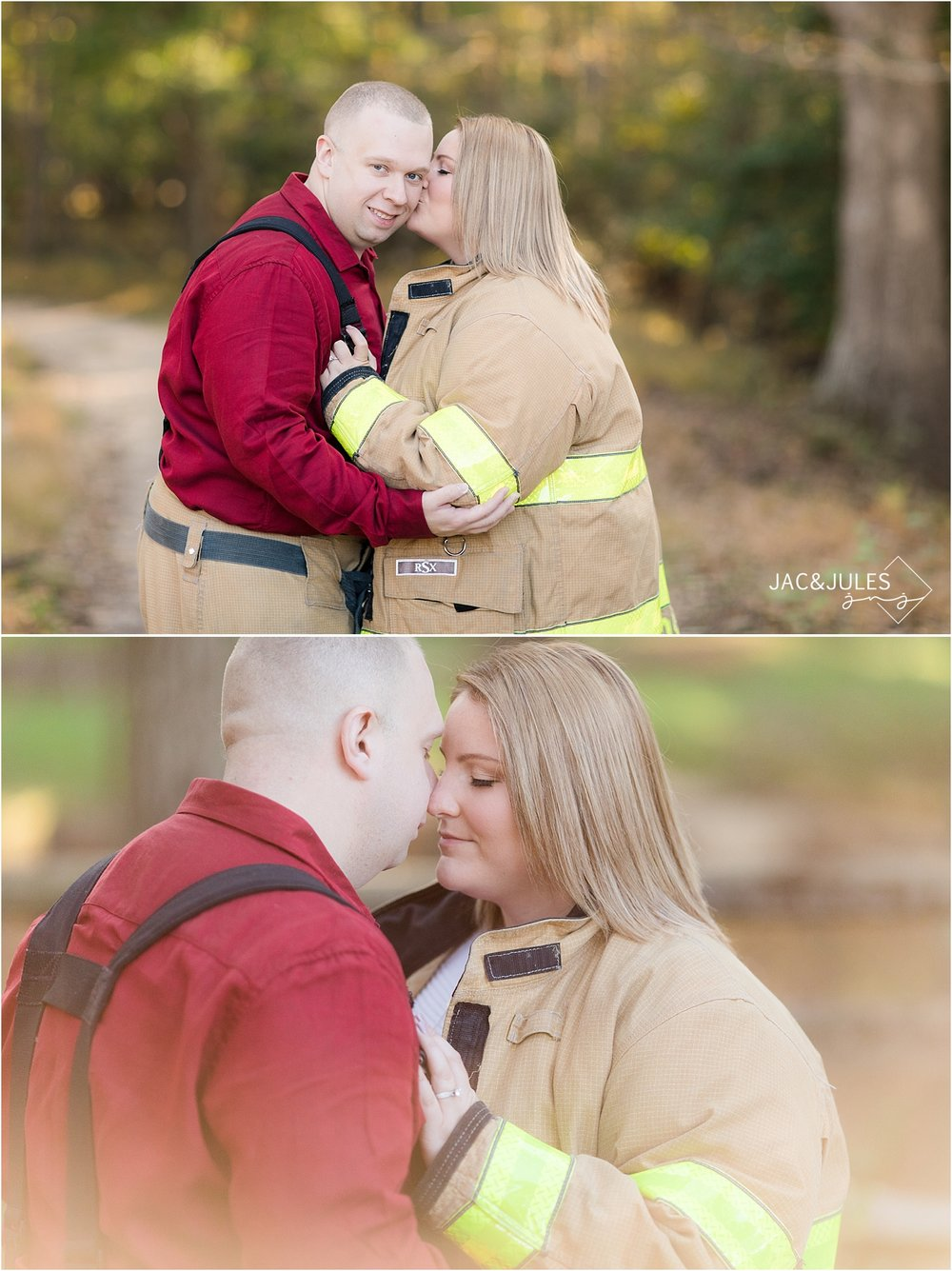 engagement photo using fireman gear at allaire state park