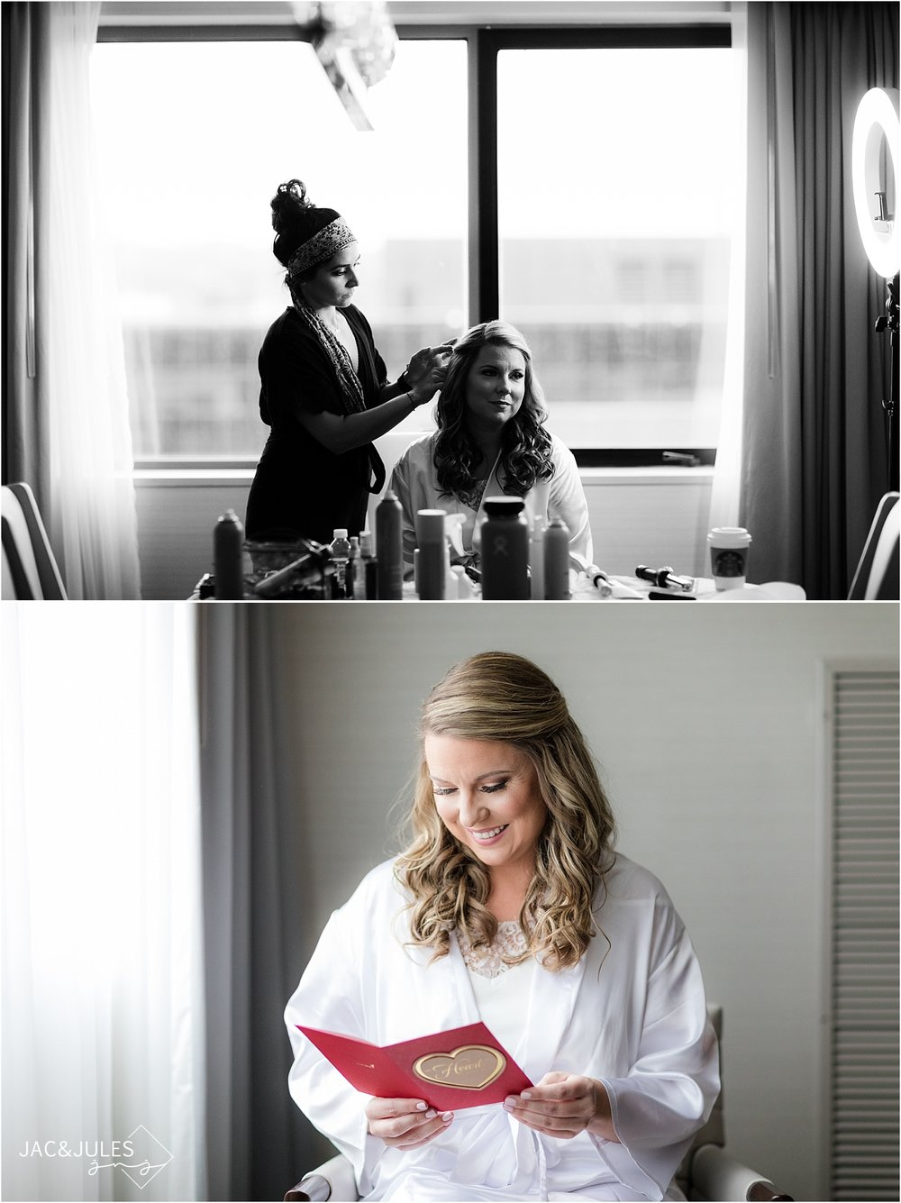 bride gets ready at short hills hilton