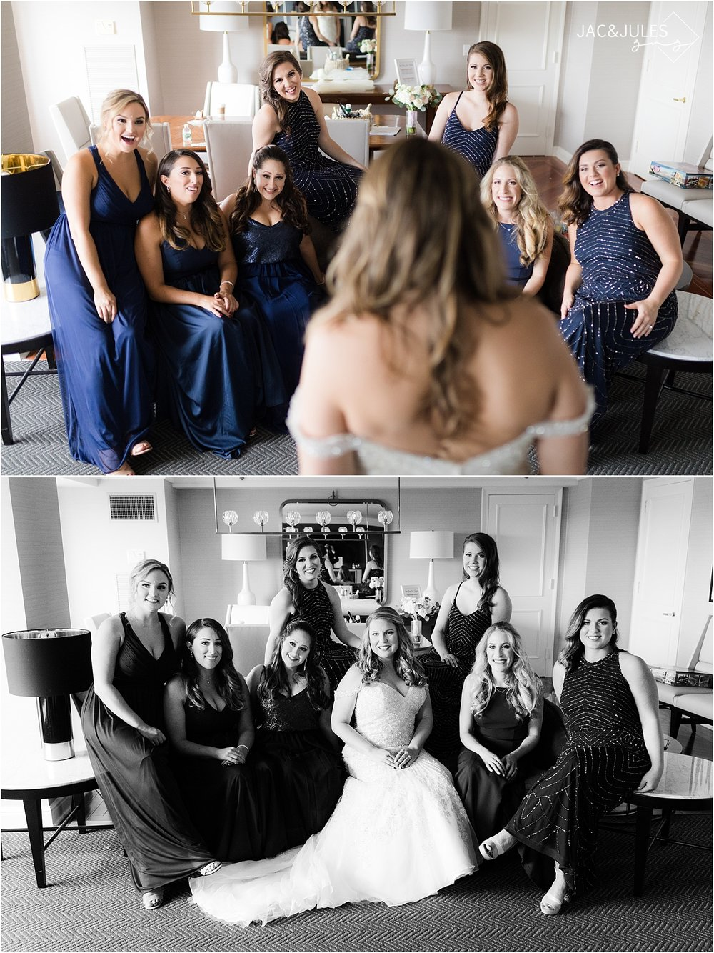 bride and bridesmaids photo at short hills hilton nj
