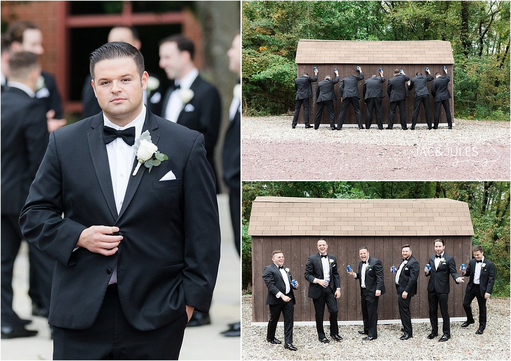 funny groomsmen picture at short hills hilton nj