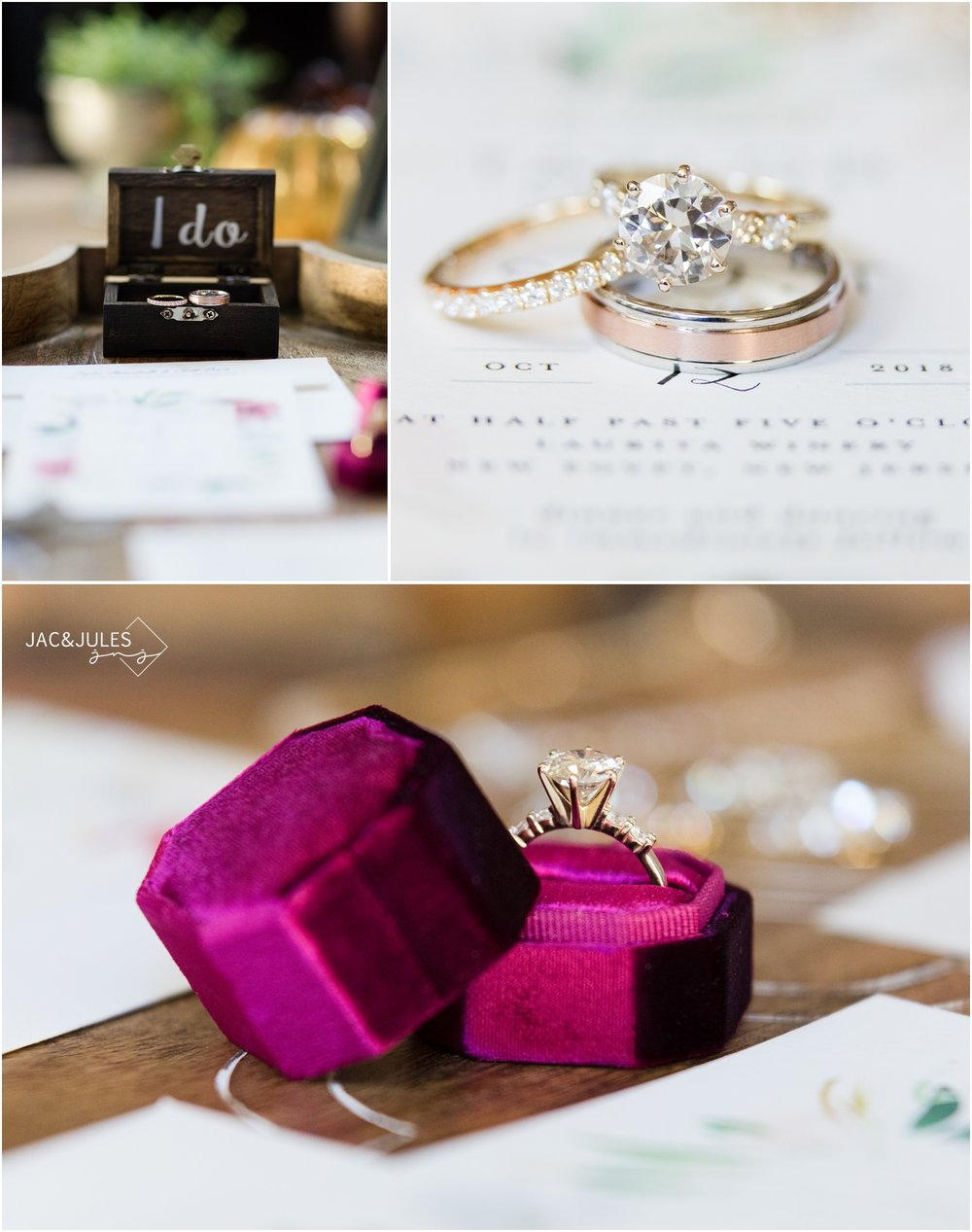 Engagement ring, wedding bands, invitations and Jewelry for a wedding at Laurita Winery.