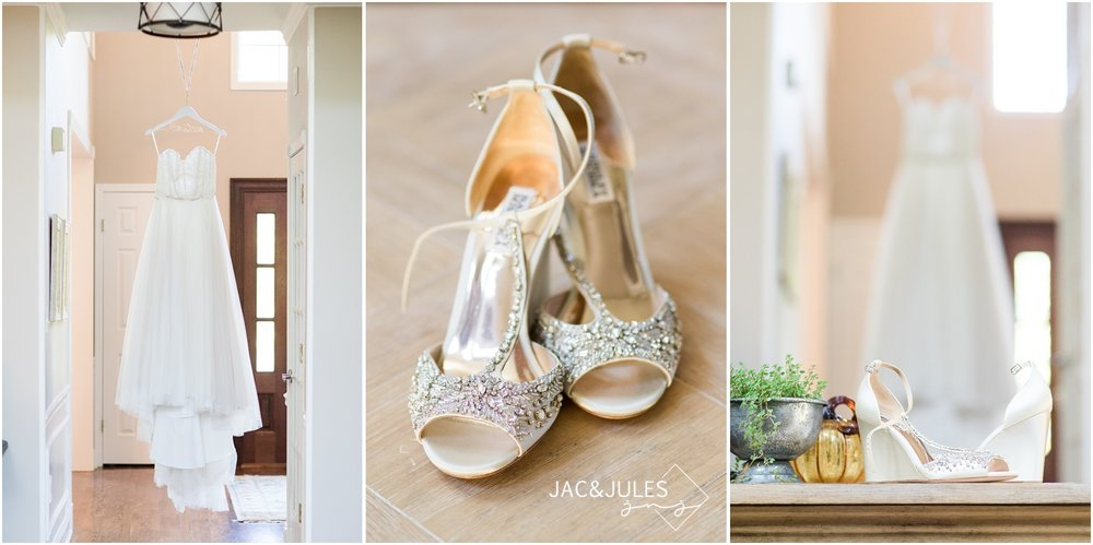 Wedding dress and brides shoes at home in Manasquan, NJ.