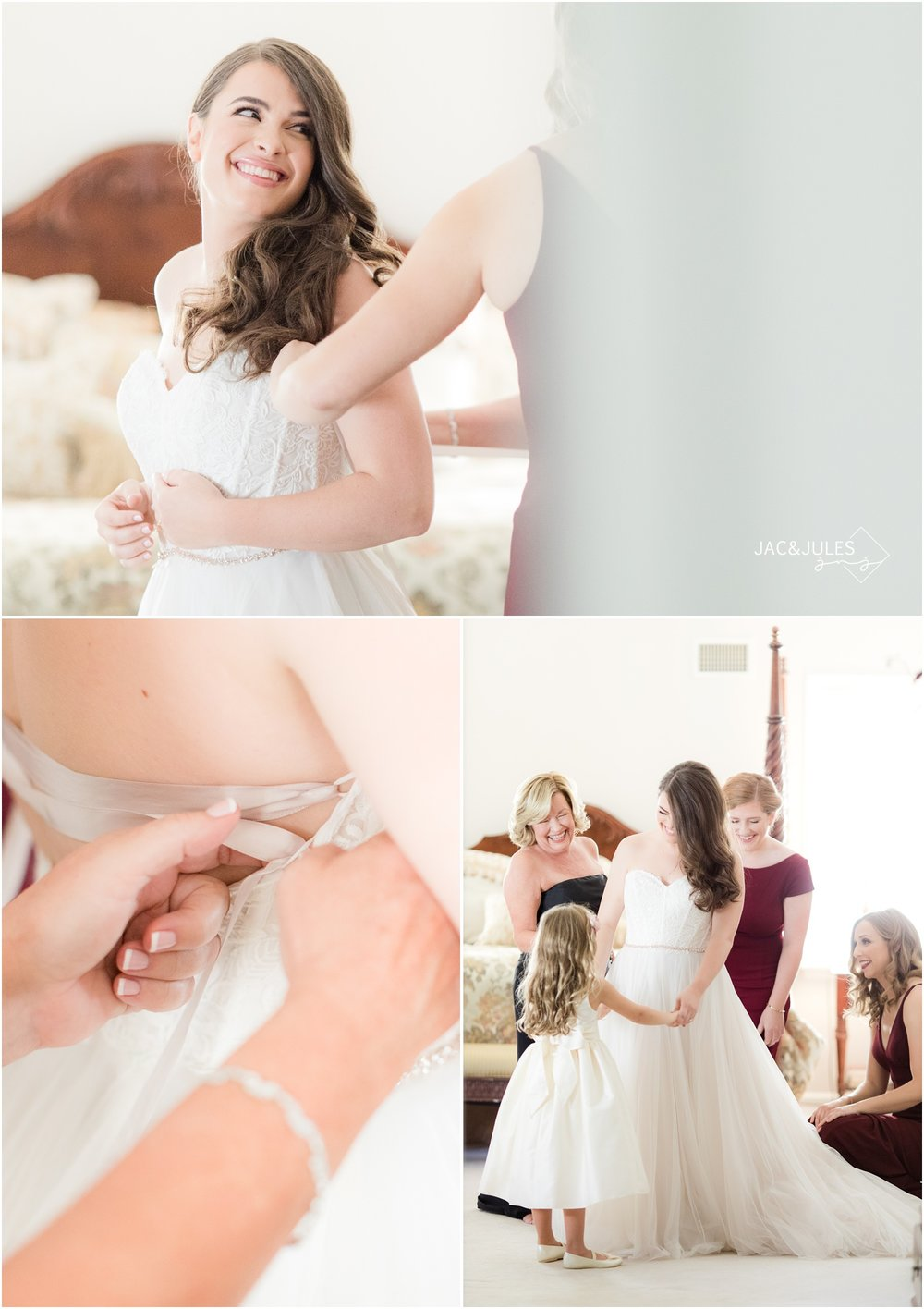 Bride getting in her wedding dress at home in Manasquan, NJ.