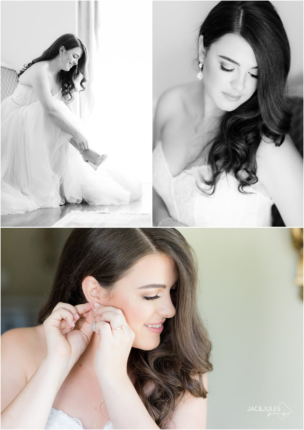 Glamour photos of bride putting on her shoes and earrings at home in Manasquan, NJ.
