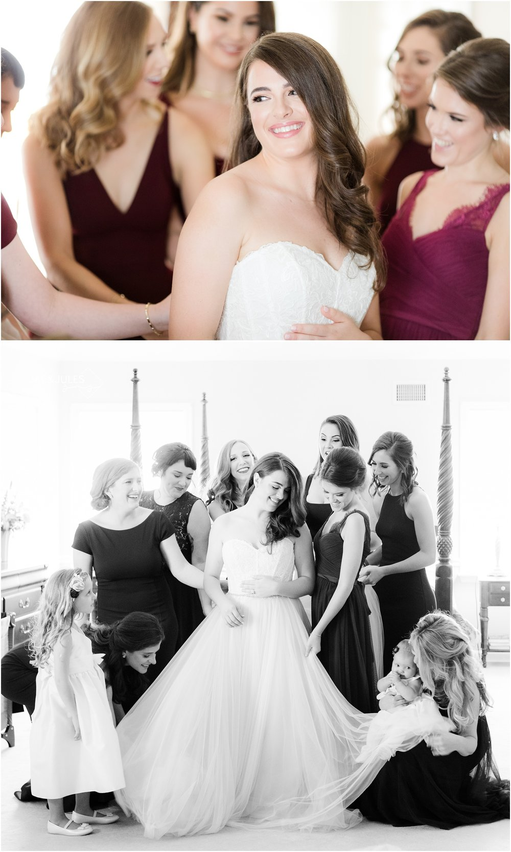 Bridesmaids helping bride get dressed at home in Manasquan, NJ.