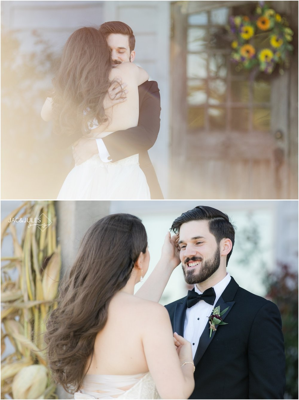 First look with bride and groom at Laurita Winery.