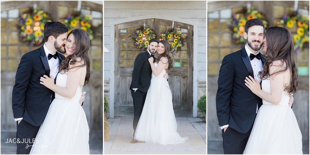 Bride and groom wedding portraits at Laurita Winery.