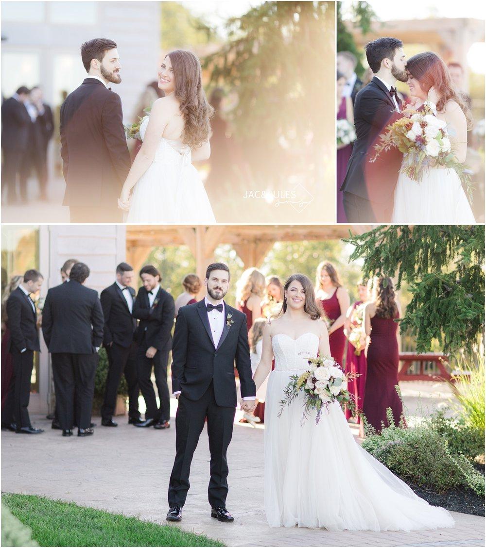 Bride and groom wedding photos at Laurita Winery.