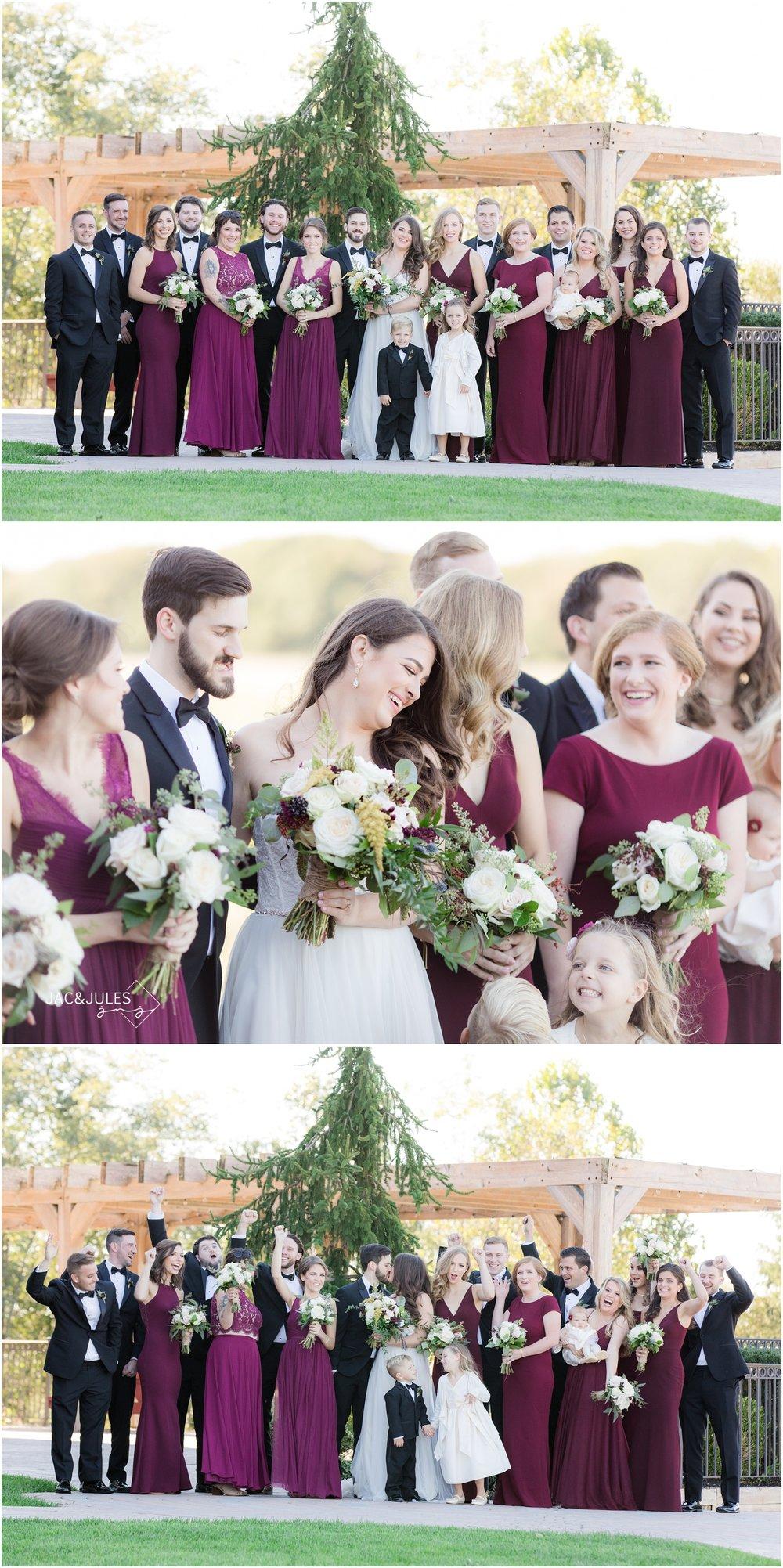 Bridal party wedding photos at Laurita Winery.