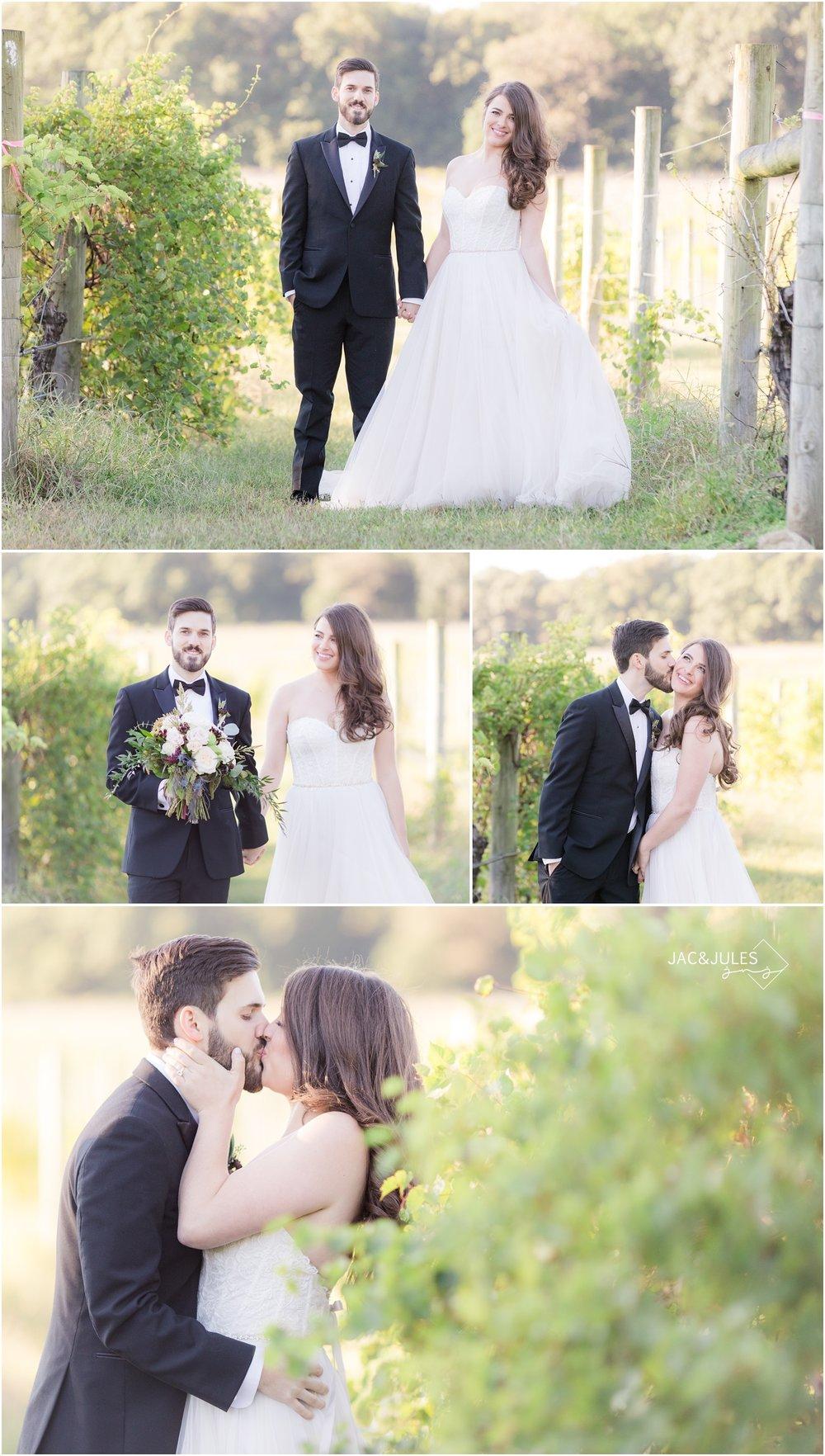fun romantic wedding photos in the vineyard at Laurita Winery.