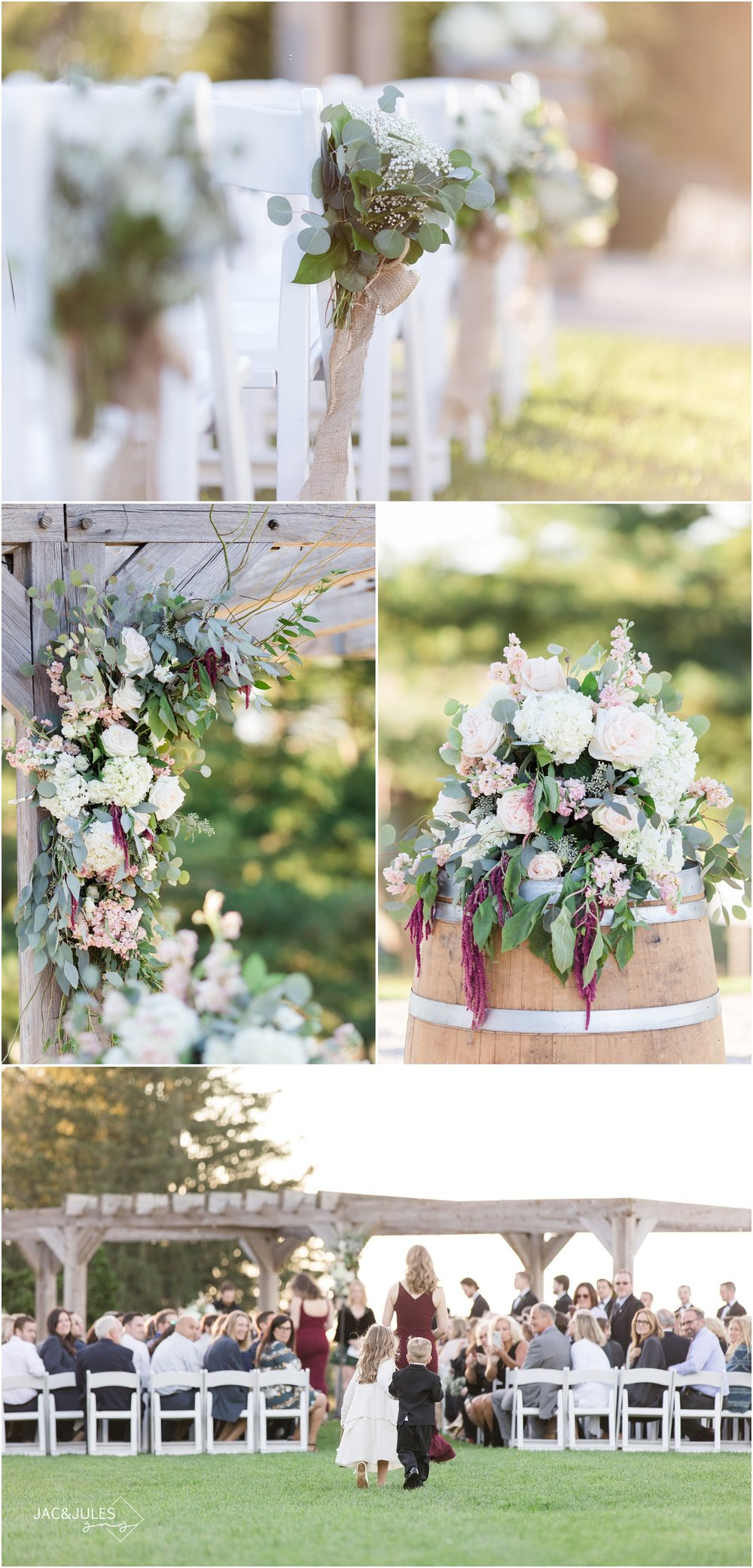 Outdoor wedding ceremony decor and florals at Laurita Winery.