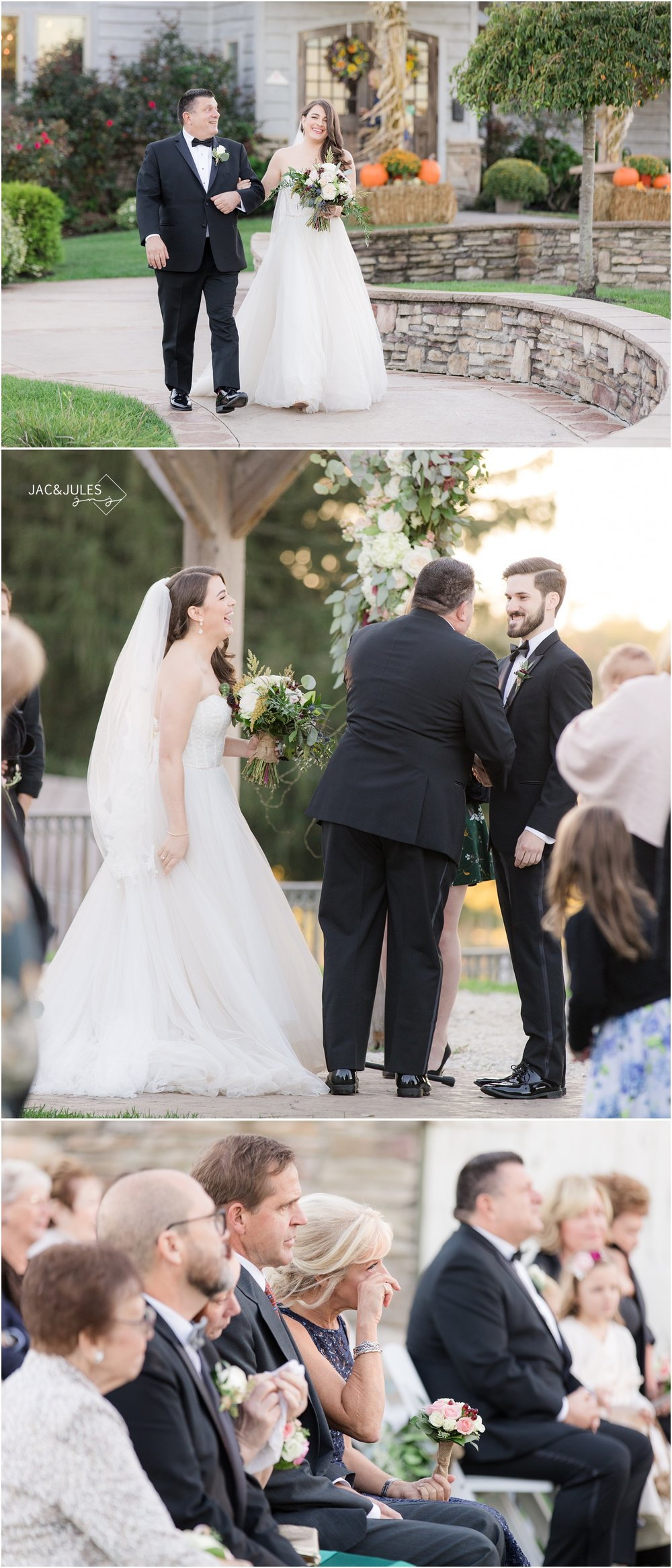 Wedding ceremony photos at Laurita Winery.
