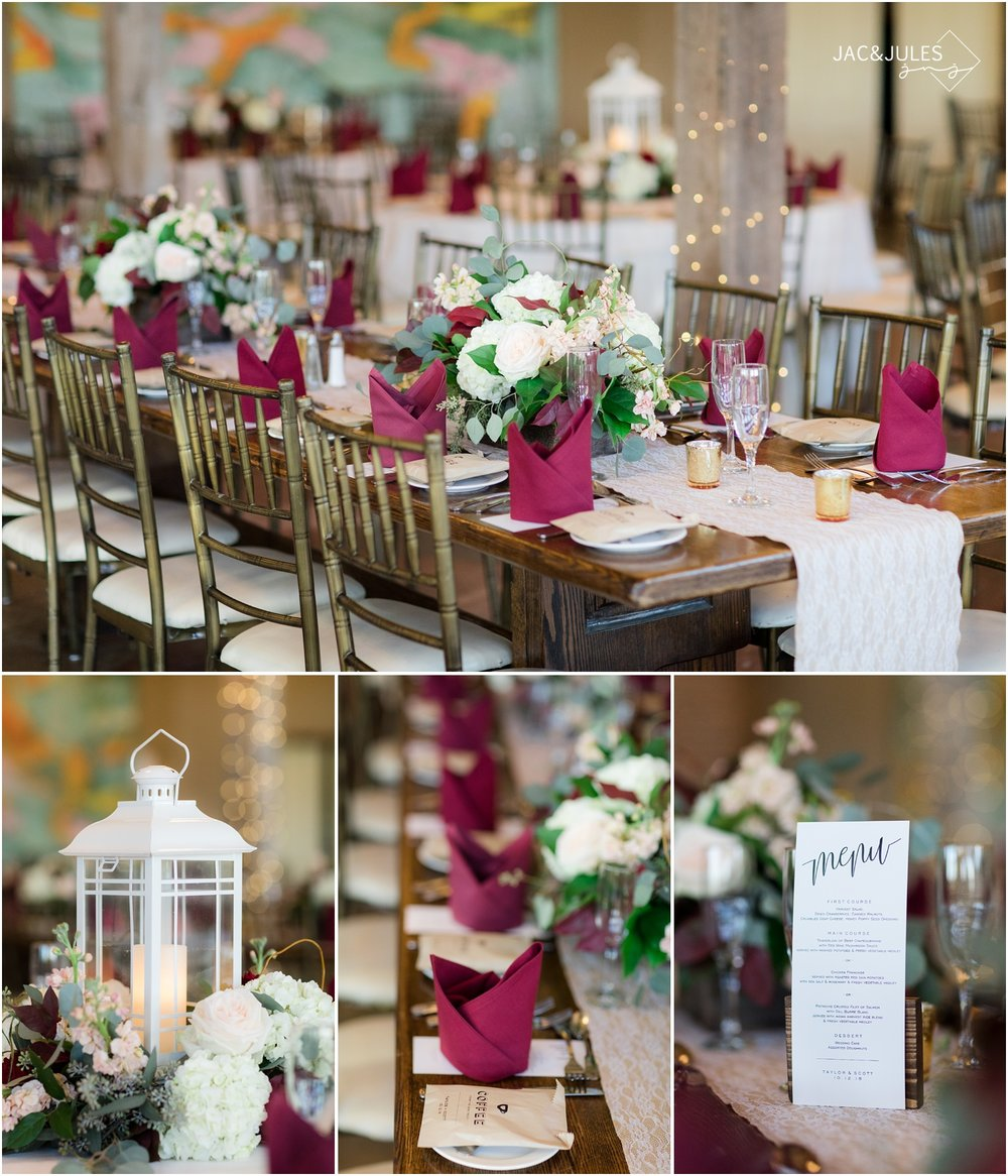 Wedding reception decor and florals by Narcissus Florist at Laurita Winery.