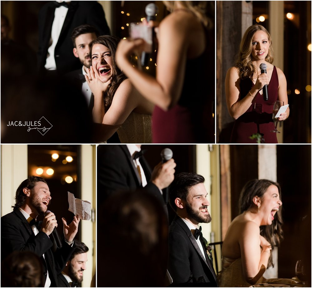 Best Man and Maid of honor speeches during wedding reception at Laurita Winery.