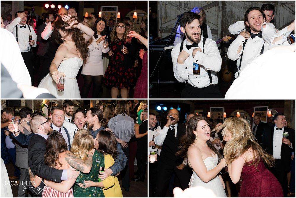 Fun dancing photos at wedding reception at Laurita Winery.