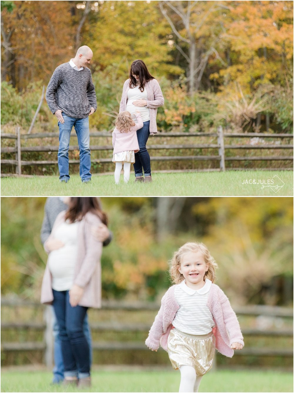 Photo of pregnant mom and girl running in Fall foliage at Allaire State Park.
