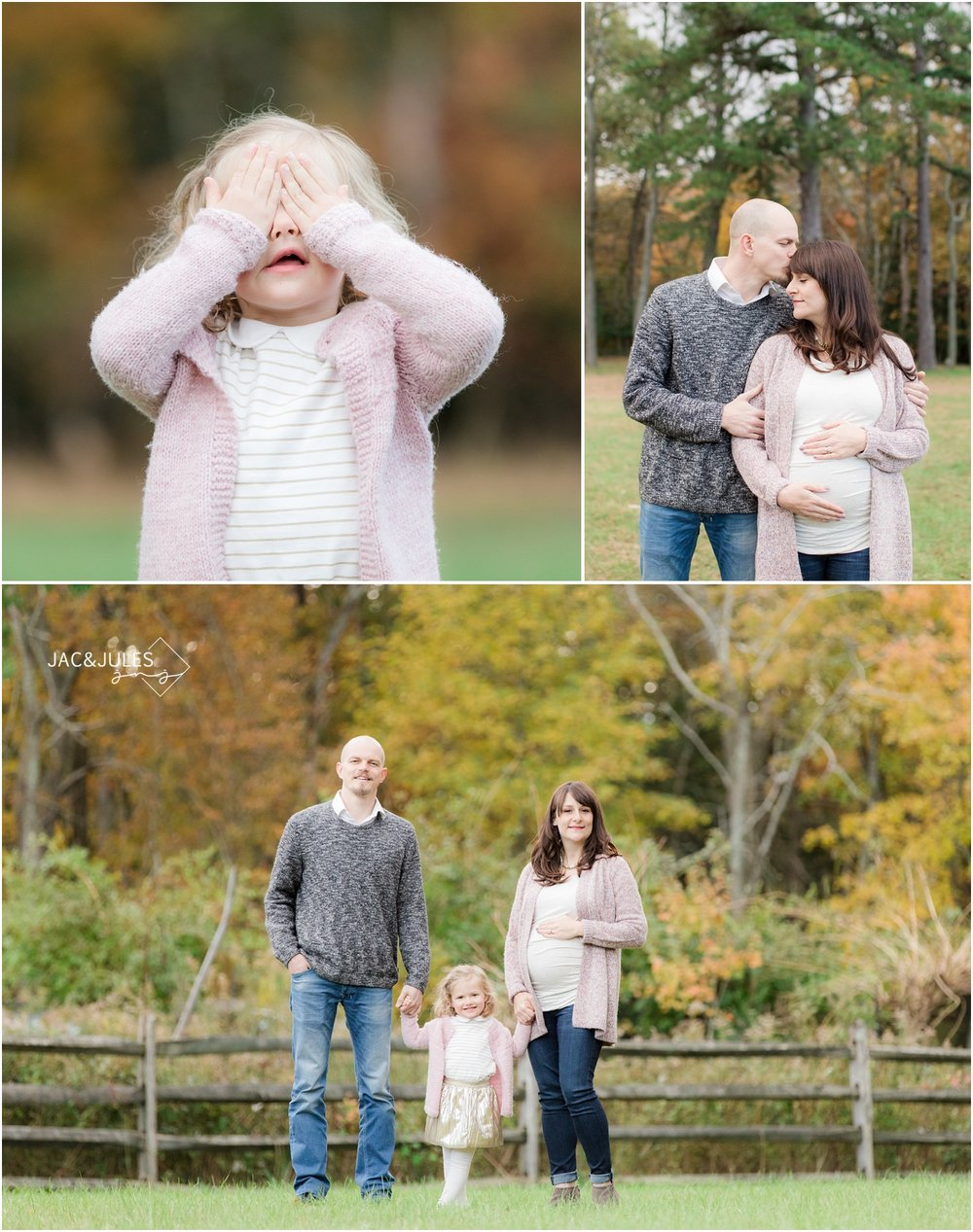 Photo of family expecting a baby in Fall foliage at Allaire State Park.