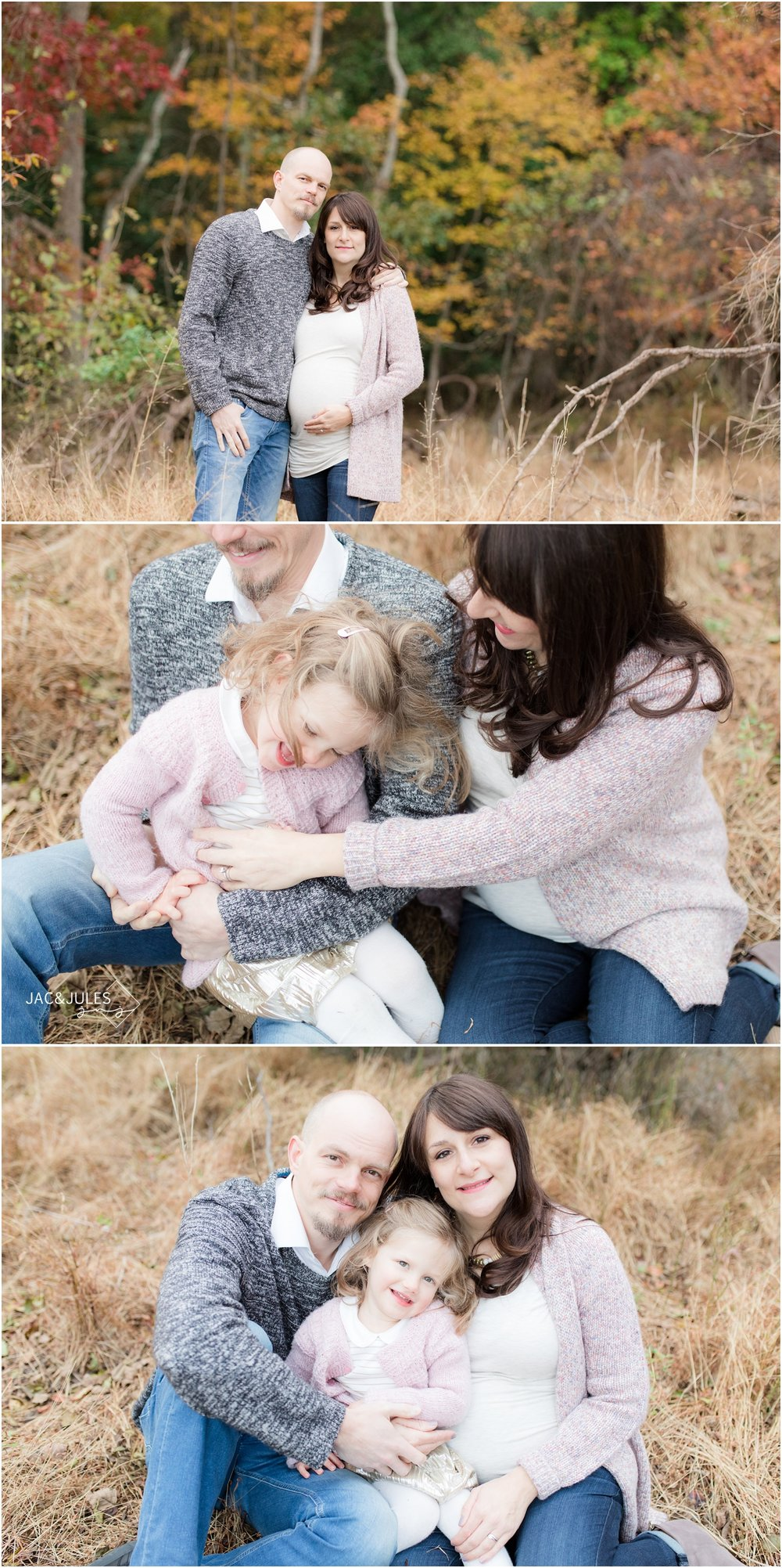 playful maternity photos at allaire state park in the fall.
