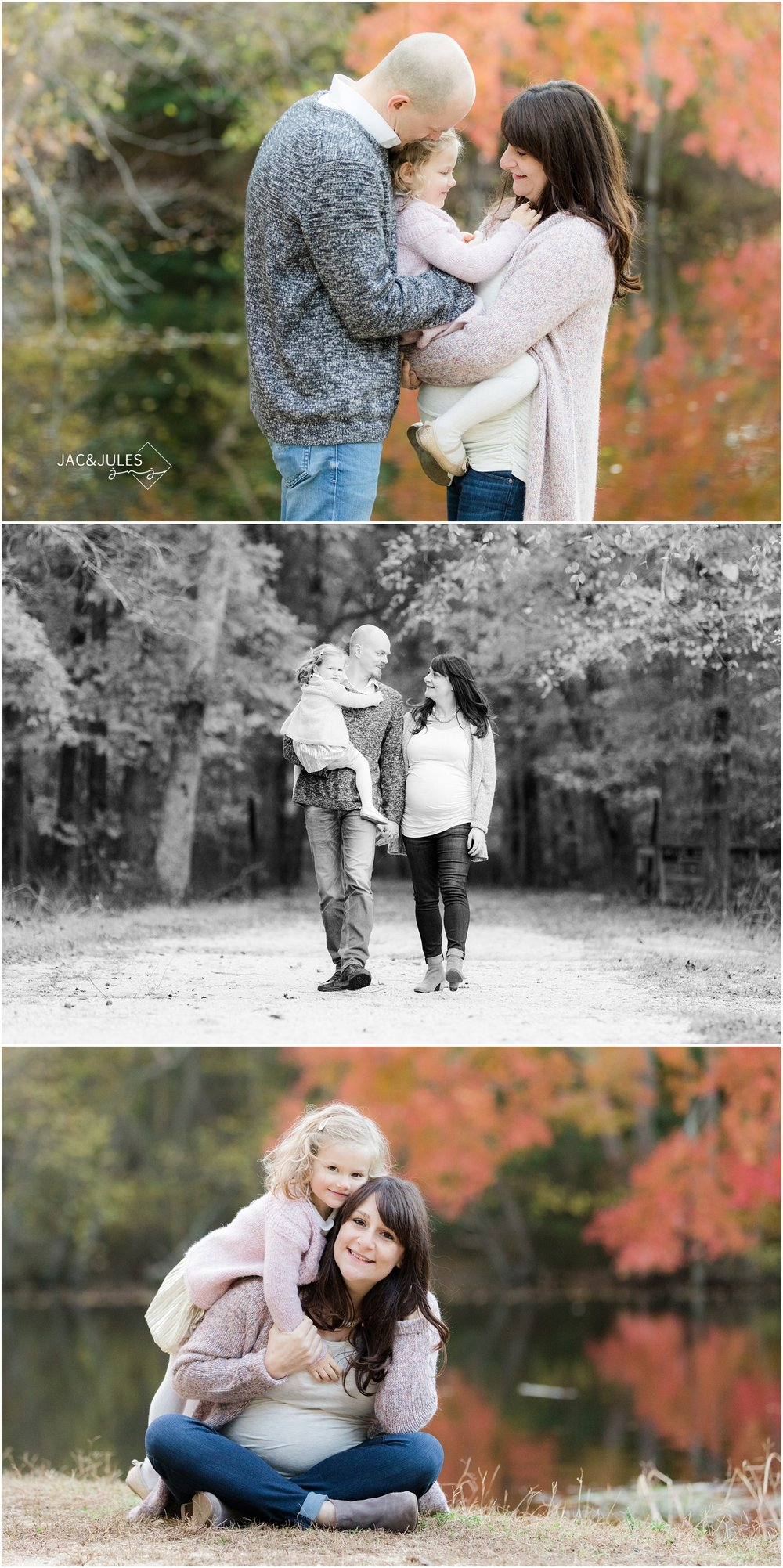 playful maternity photos by the lake at allaire state park in the fall.