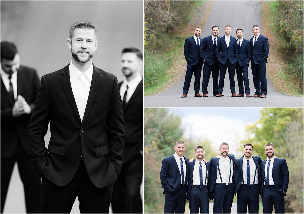 groom poses with his groomsmen in Sleepy Hollow NY