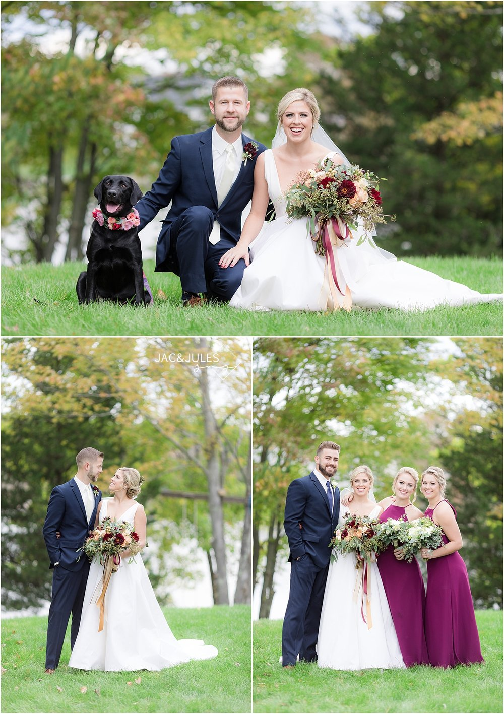 wedding photo with black lab and flower crown