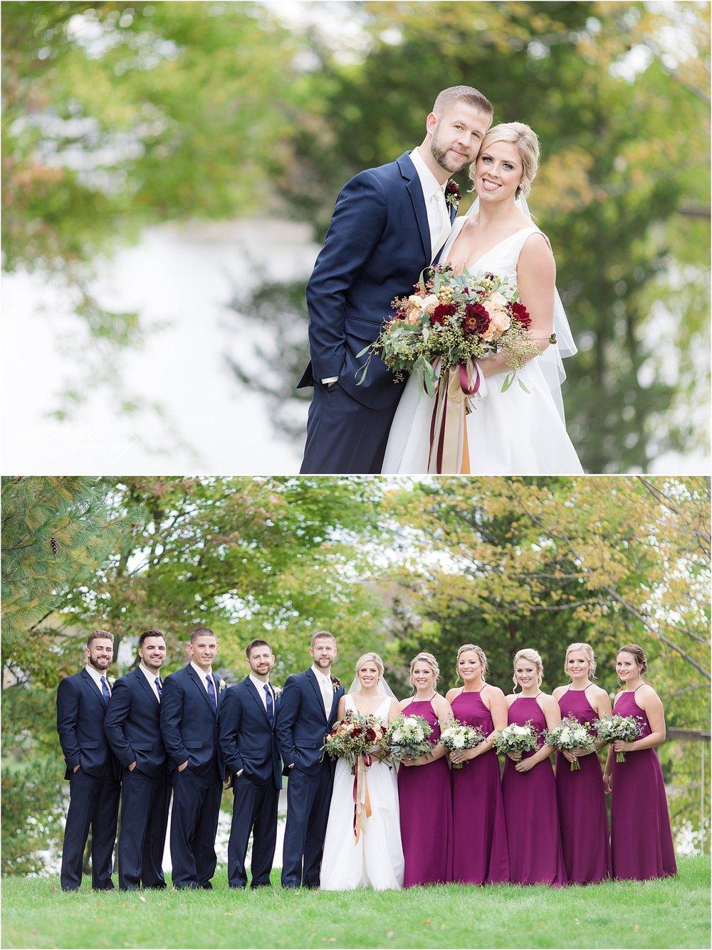 fall wedding bridal party photo in upstate NY