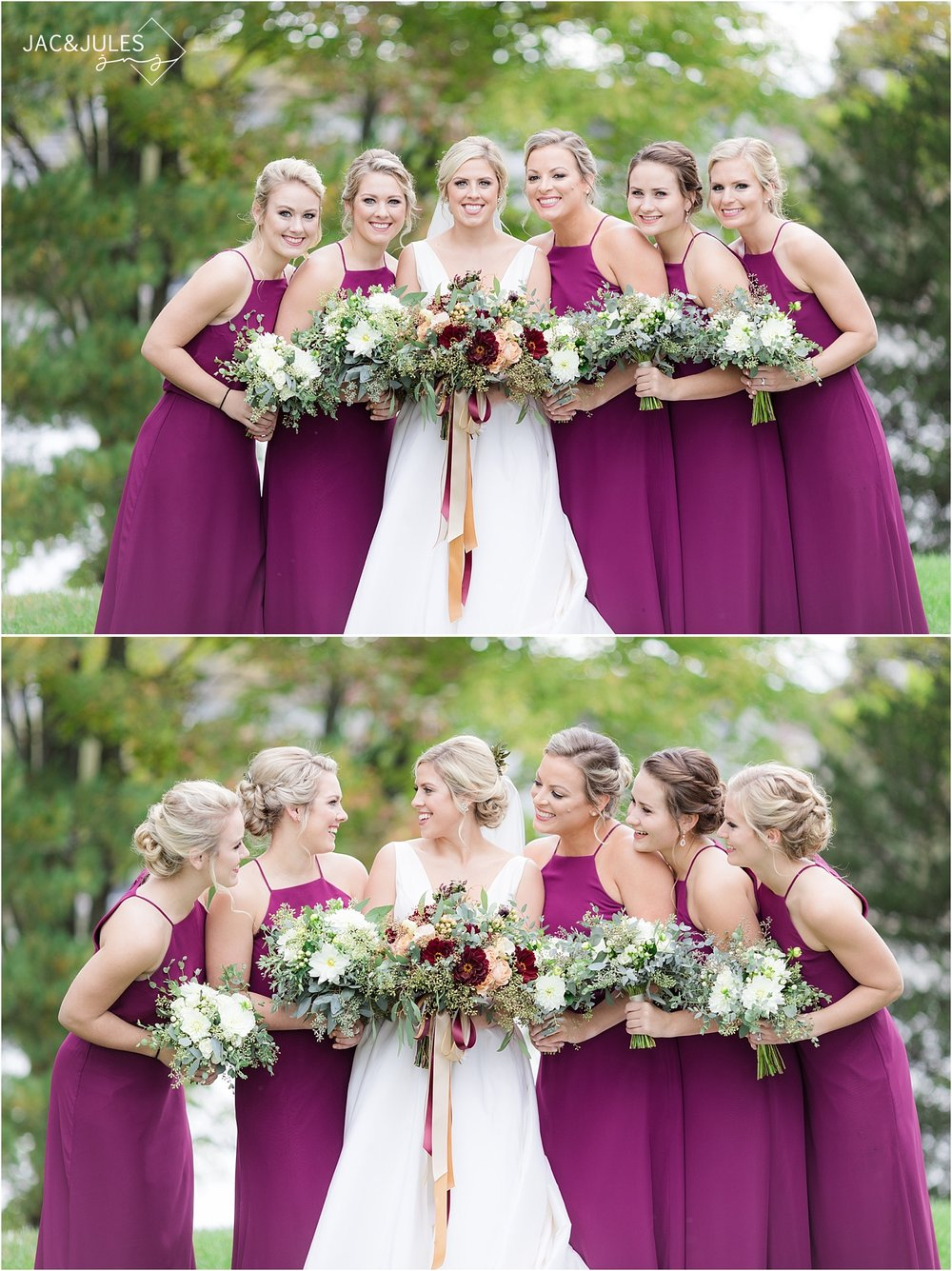 bride and bridesmaids in fall colors