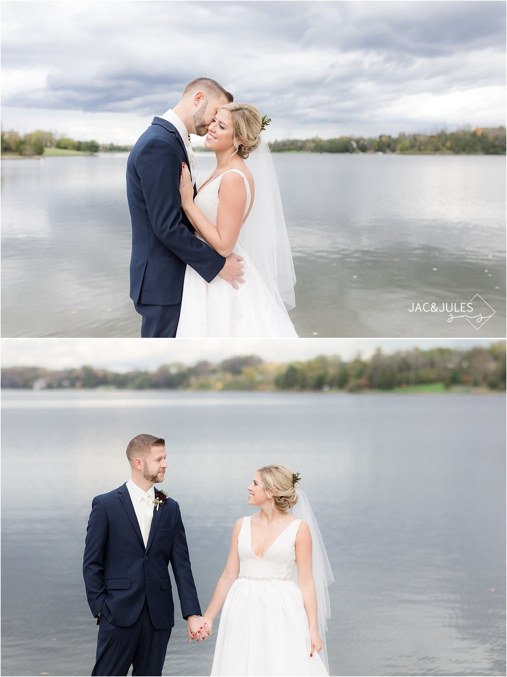 Bride and Groom pose for photos lakeside in upstate NY