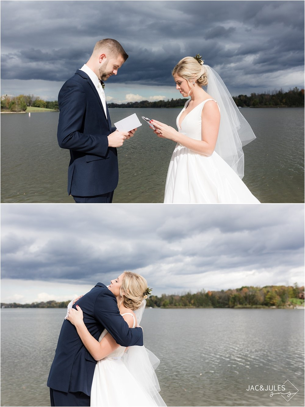 bride and groom exchange letters during first look