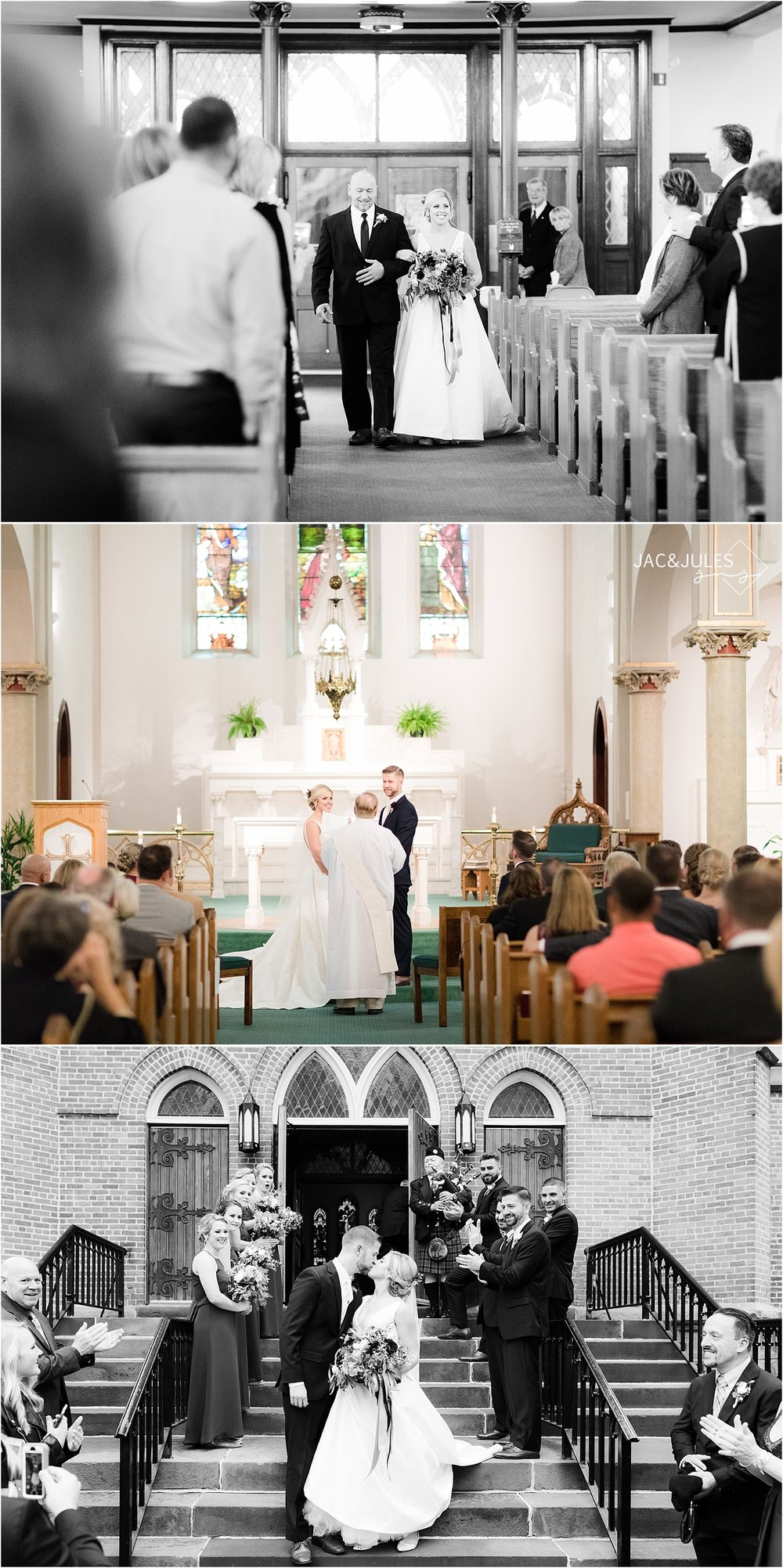 wedding ceremony at a church in upstate NY
