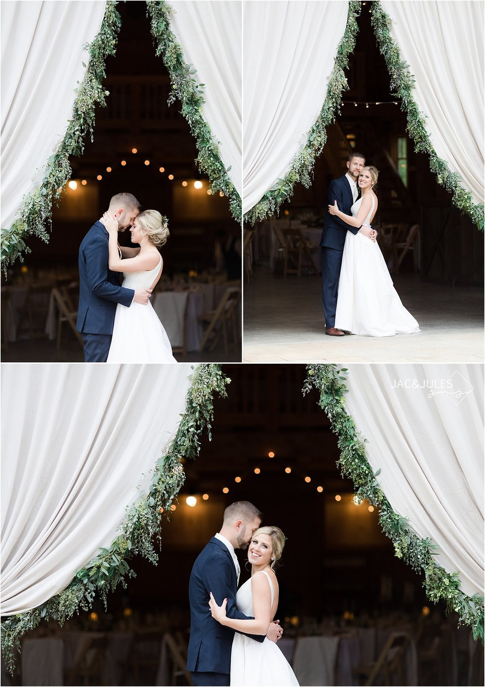 romantic bride and groom photo using tent and eucalyptus at covered bridge barn
