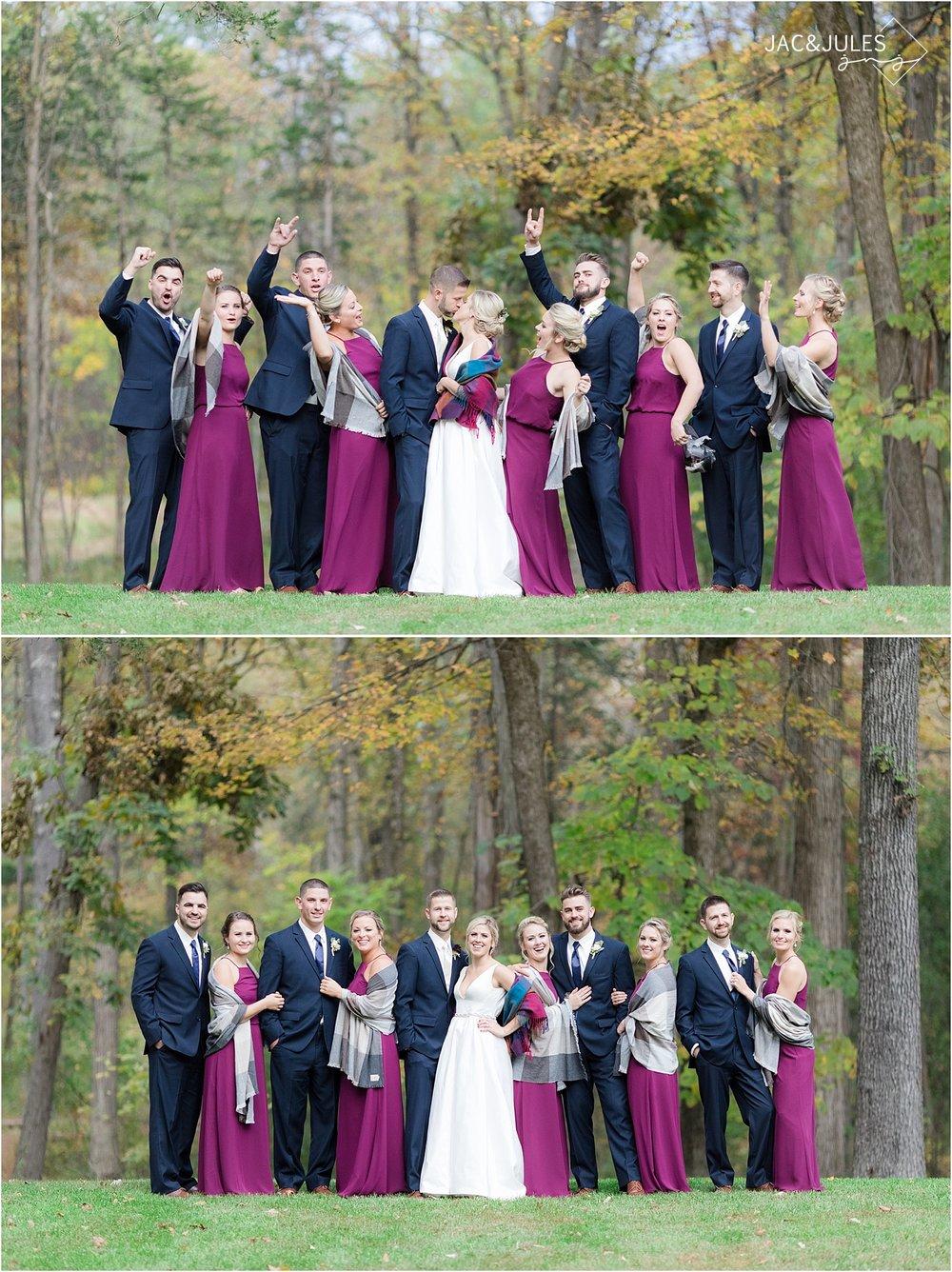 fall wedding colors bridal party at covered bridge barn NY