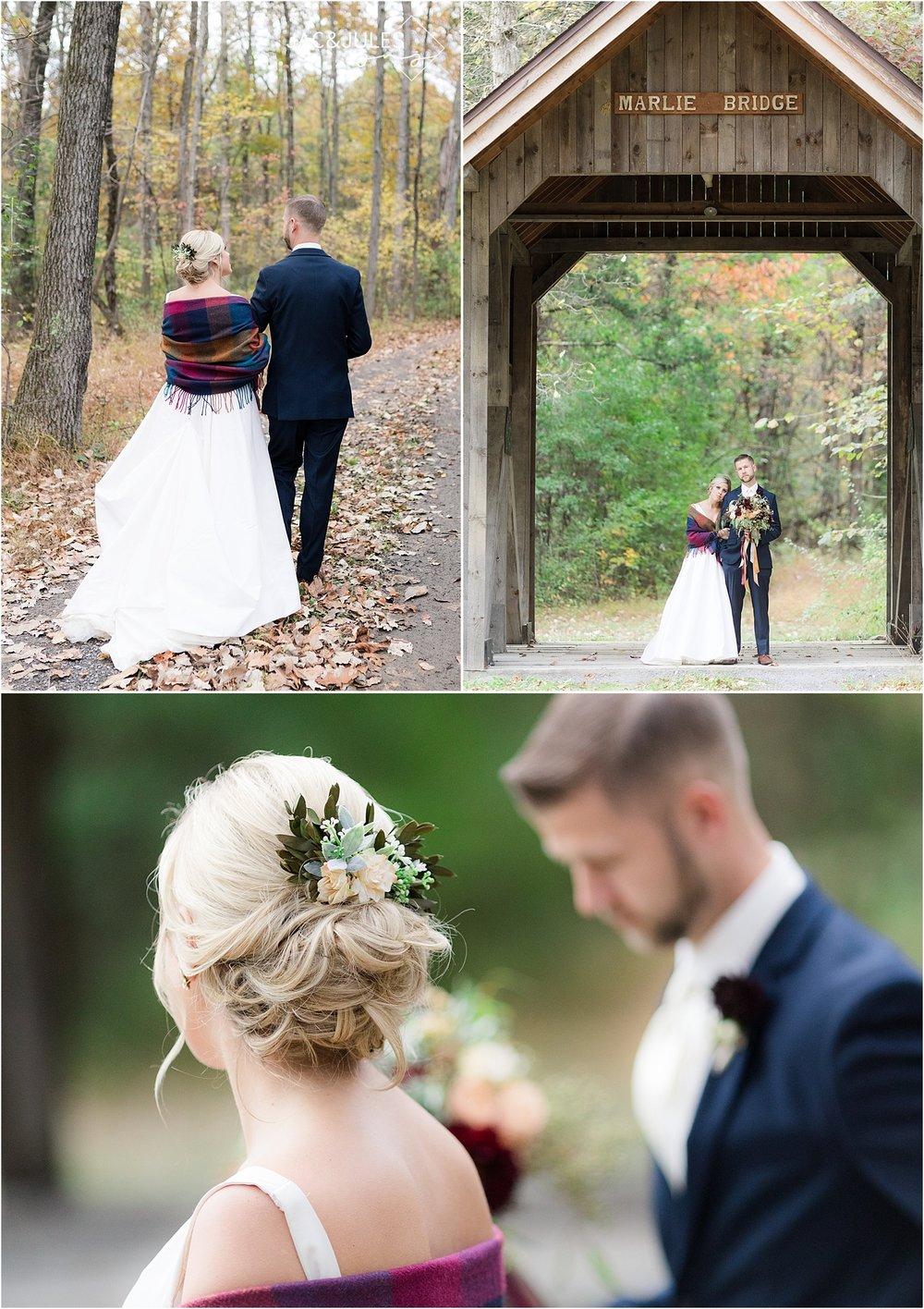 covered bridge barn wedding photo in the fall