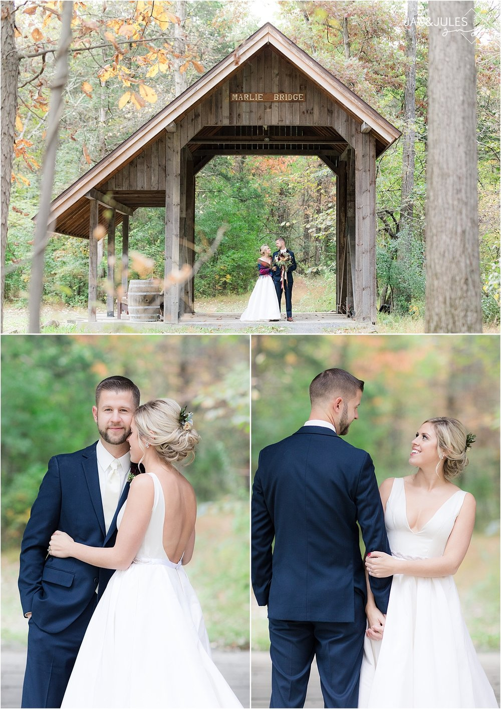 fall wedding photo at covered bridge barn in germantown NY