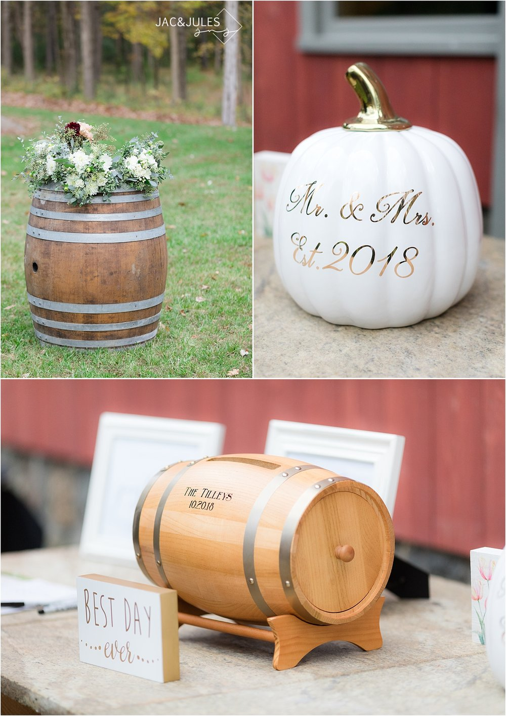 rustic romantic wedding details at covered bridge barn NY