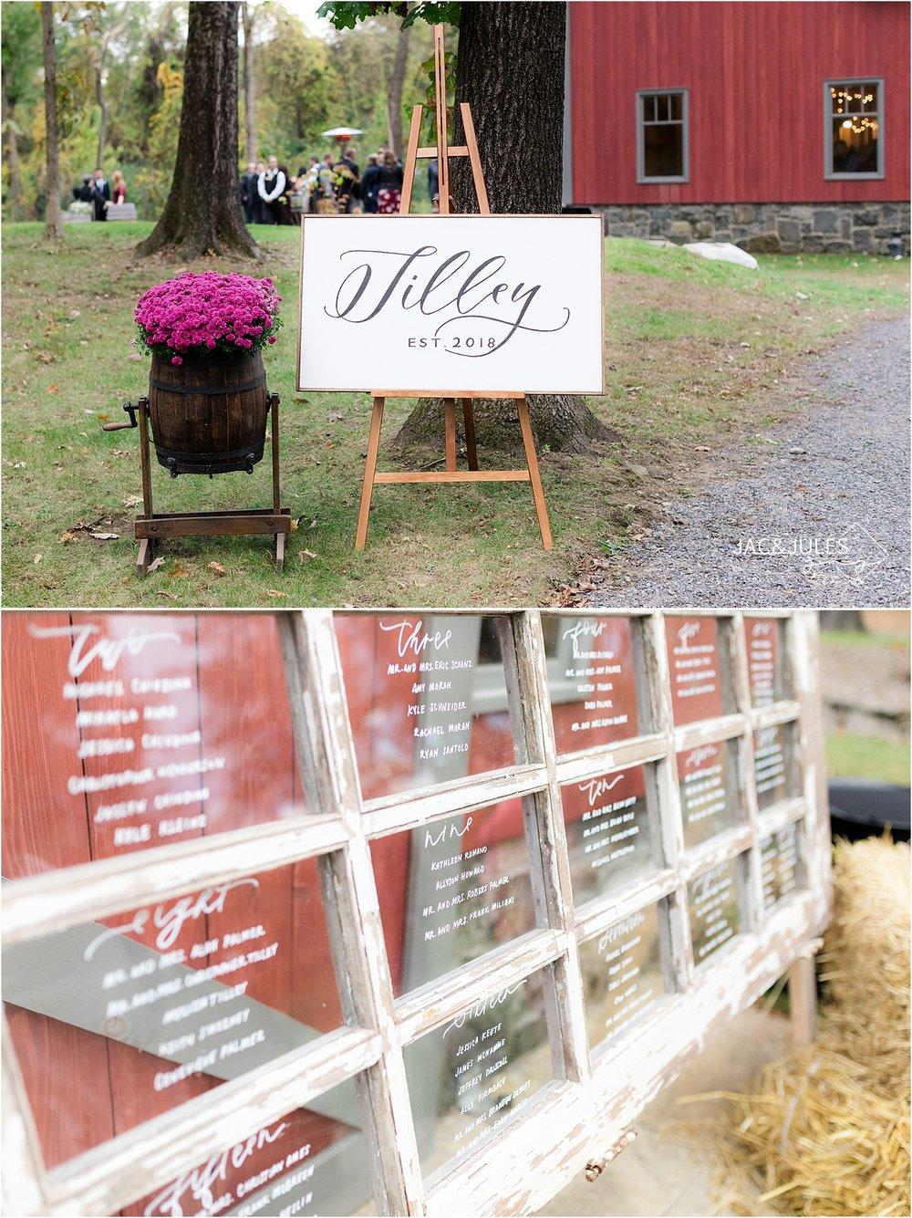 wedding reception details at covered bridge barn NY