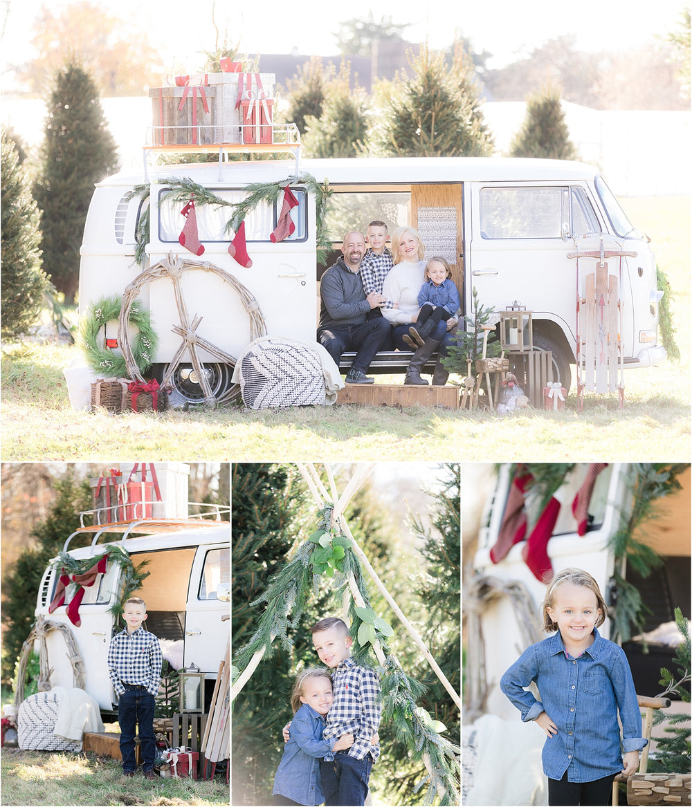 unique holiday mini session photo using vw bus in NJ