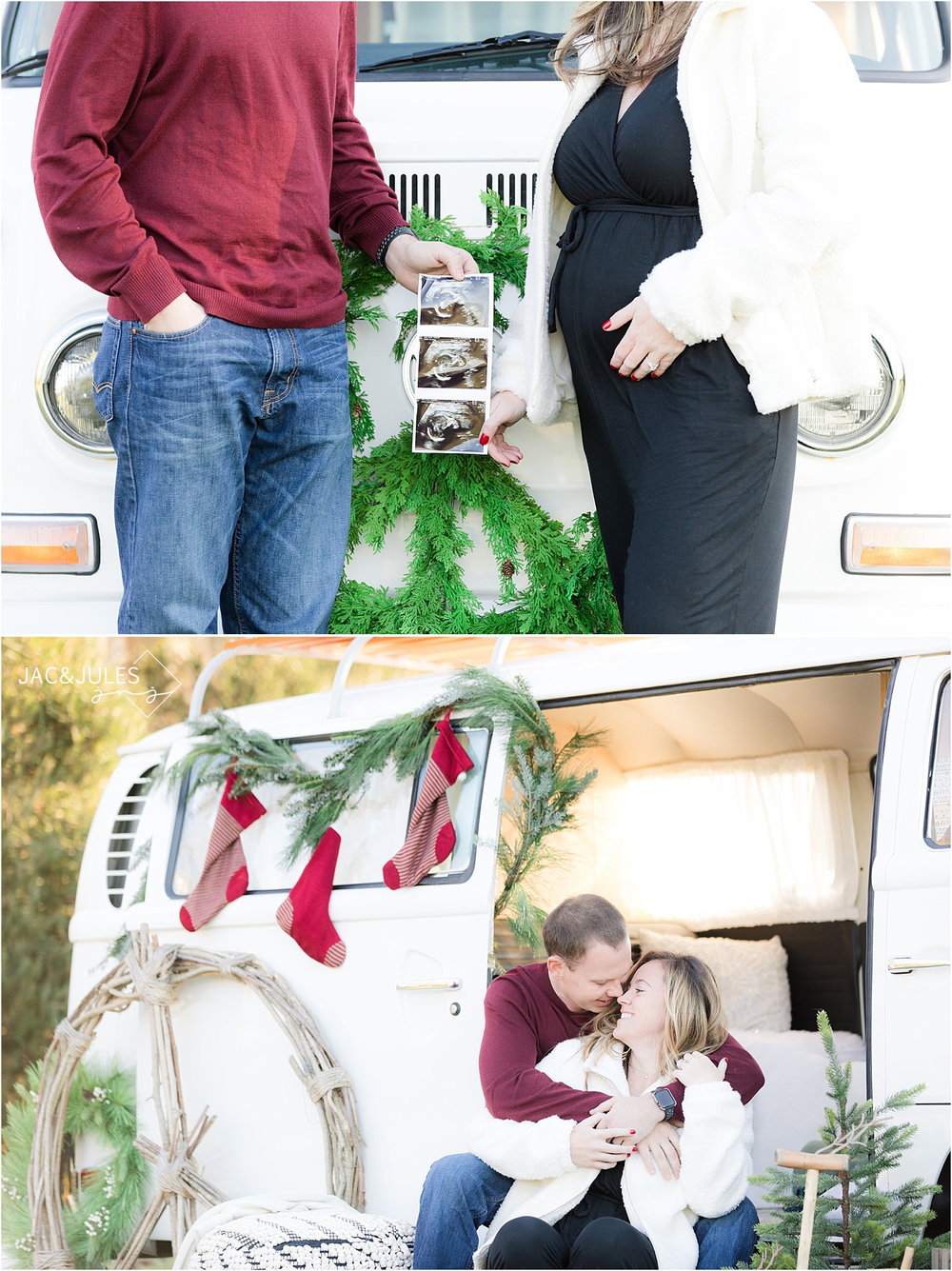 christmas mini session photo using vw bus for maternity in NJ