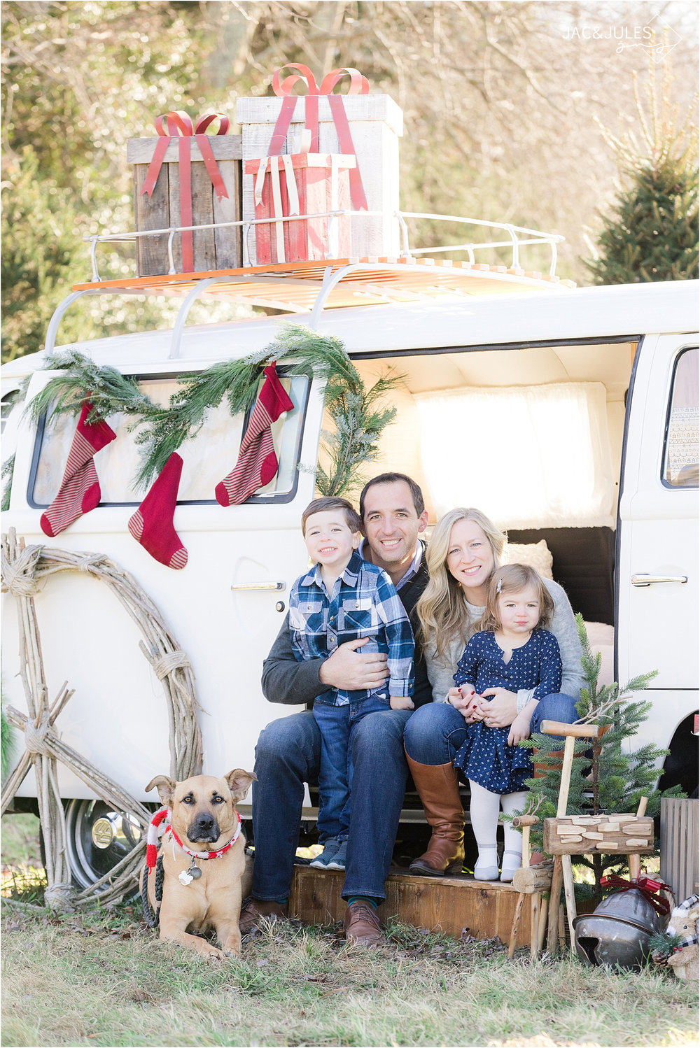 family christmas photo with dog at a tree farm in NJ using vw bus