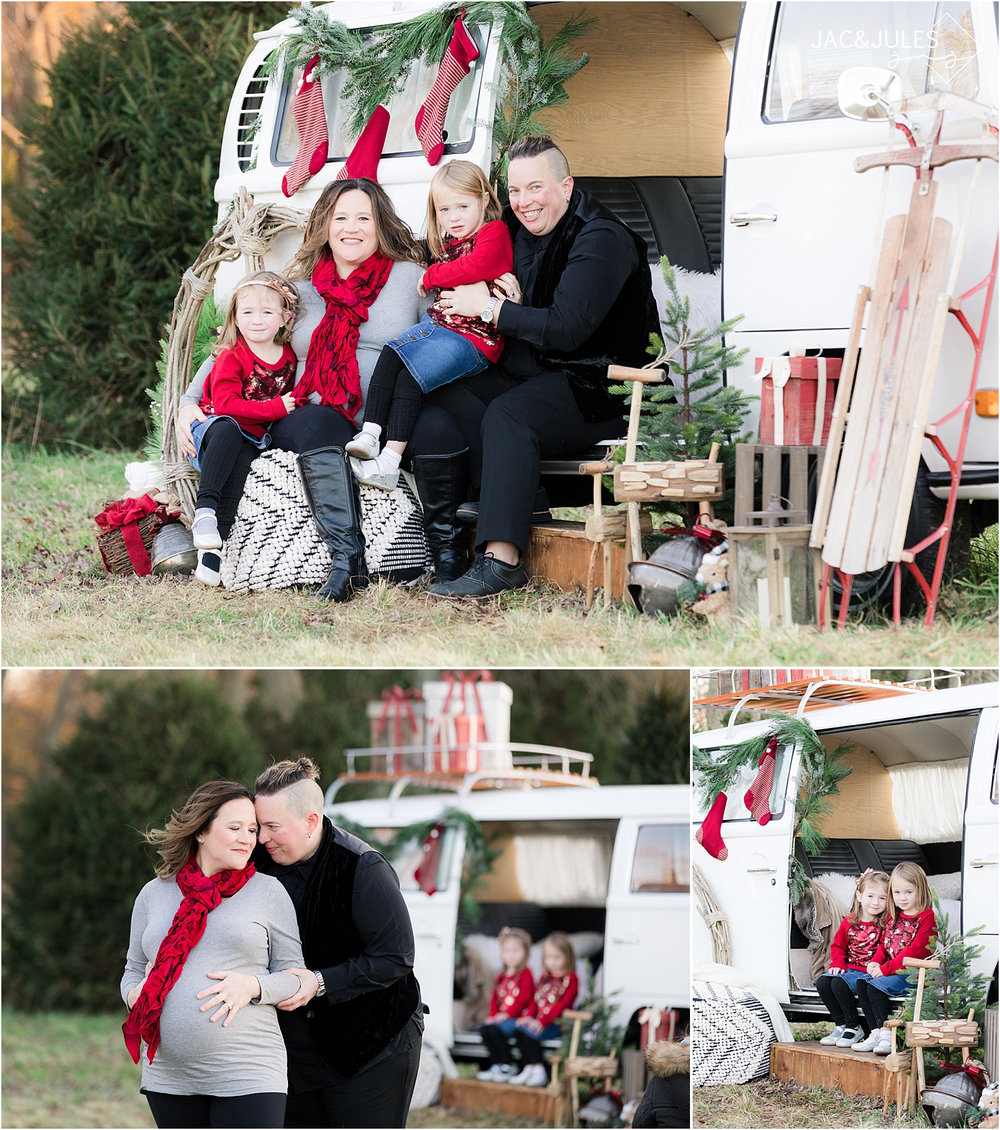 unique holiday photos in NJ using vw bus for christmas