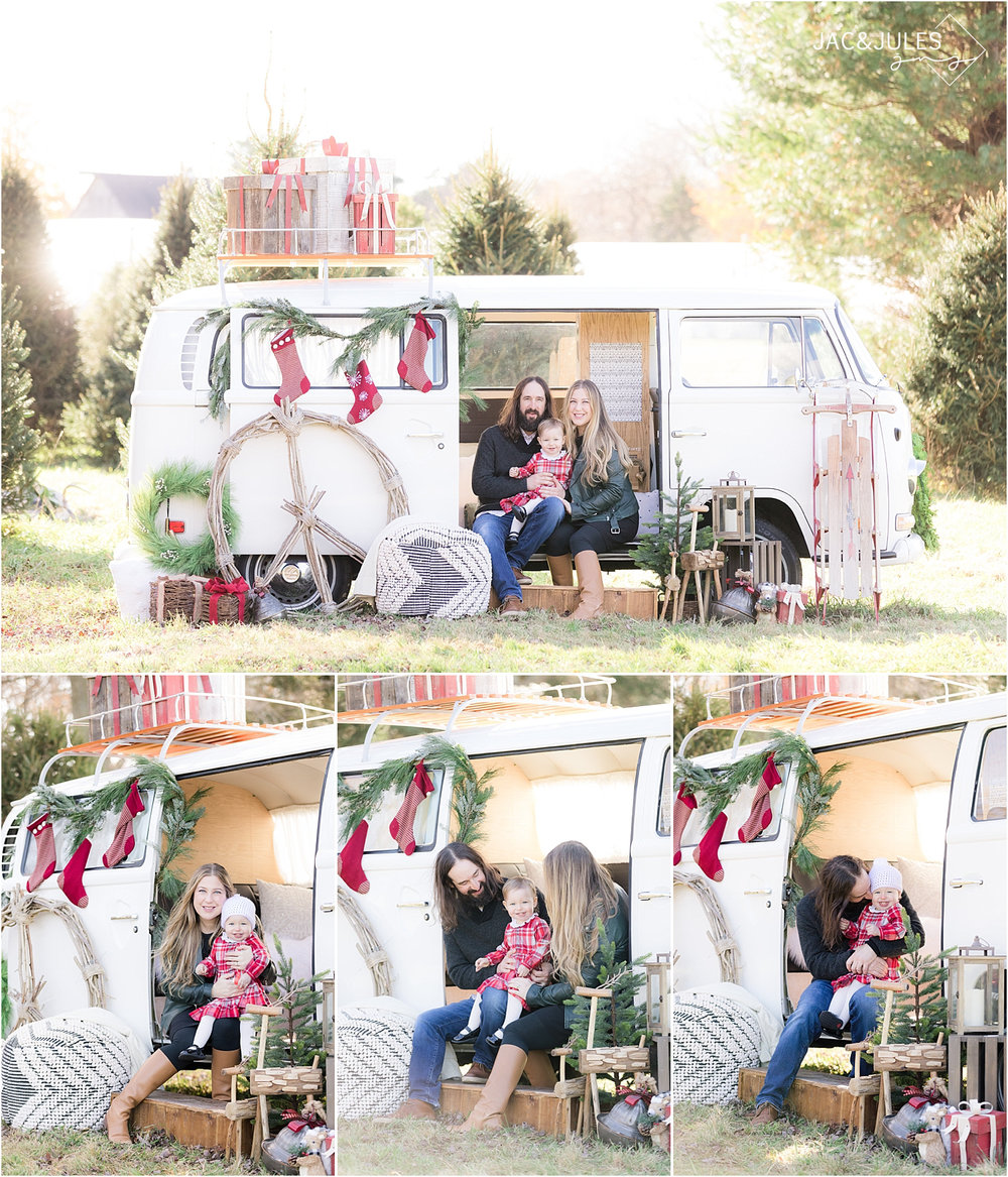vintage holiday photos at a tree farm in NJ using a vw bus