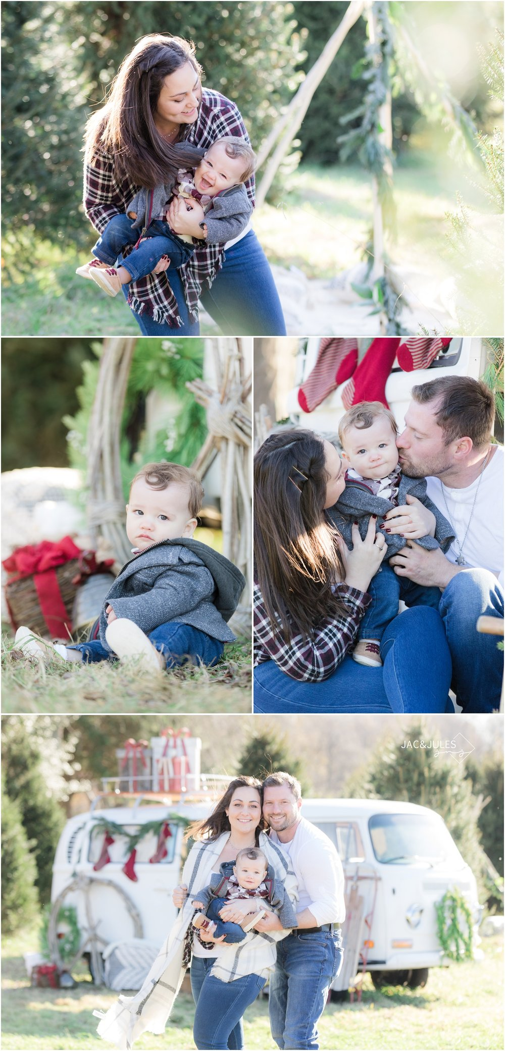 christmas photos at a tree farm with a teepee and vw bus.