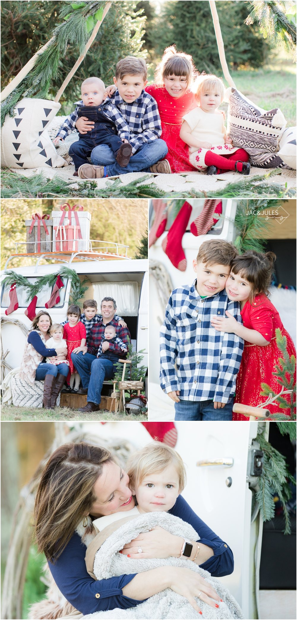 styled holiday photos at a tree farm with a teepee and vw bus.